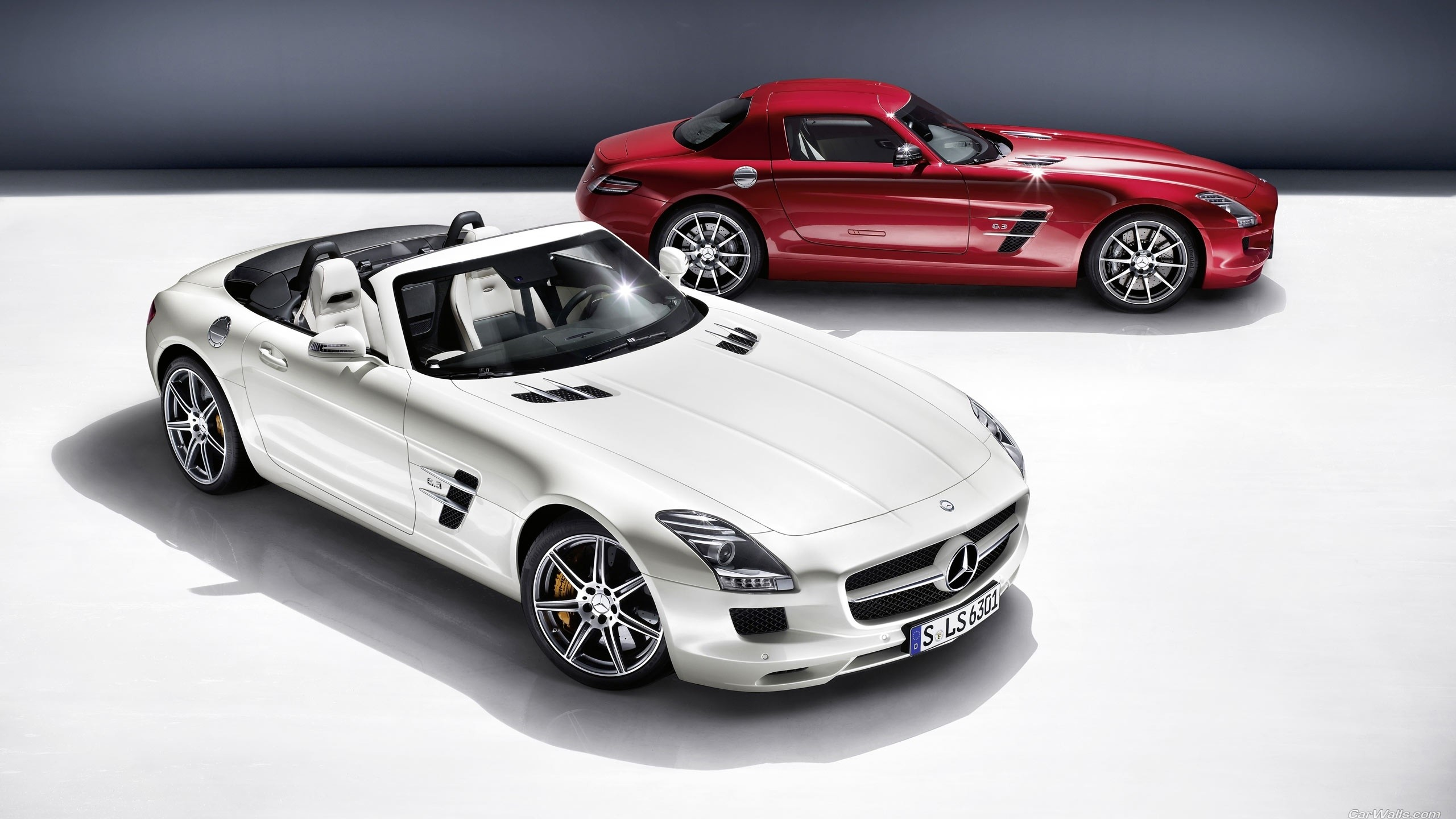 2560x1440 Vehicles - Mercedes-Benz SLS AMG Mercedes-Benz Supercar Vehicle Car White  Car Red