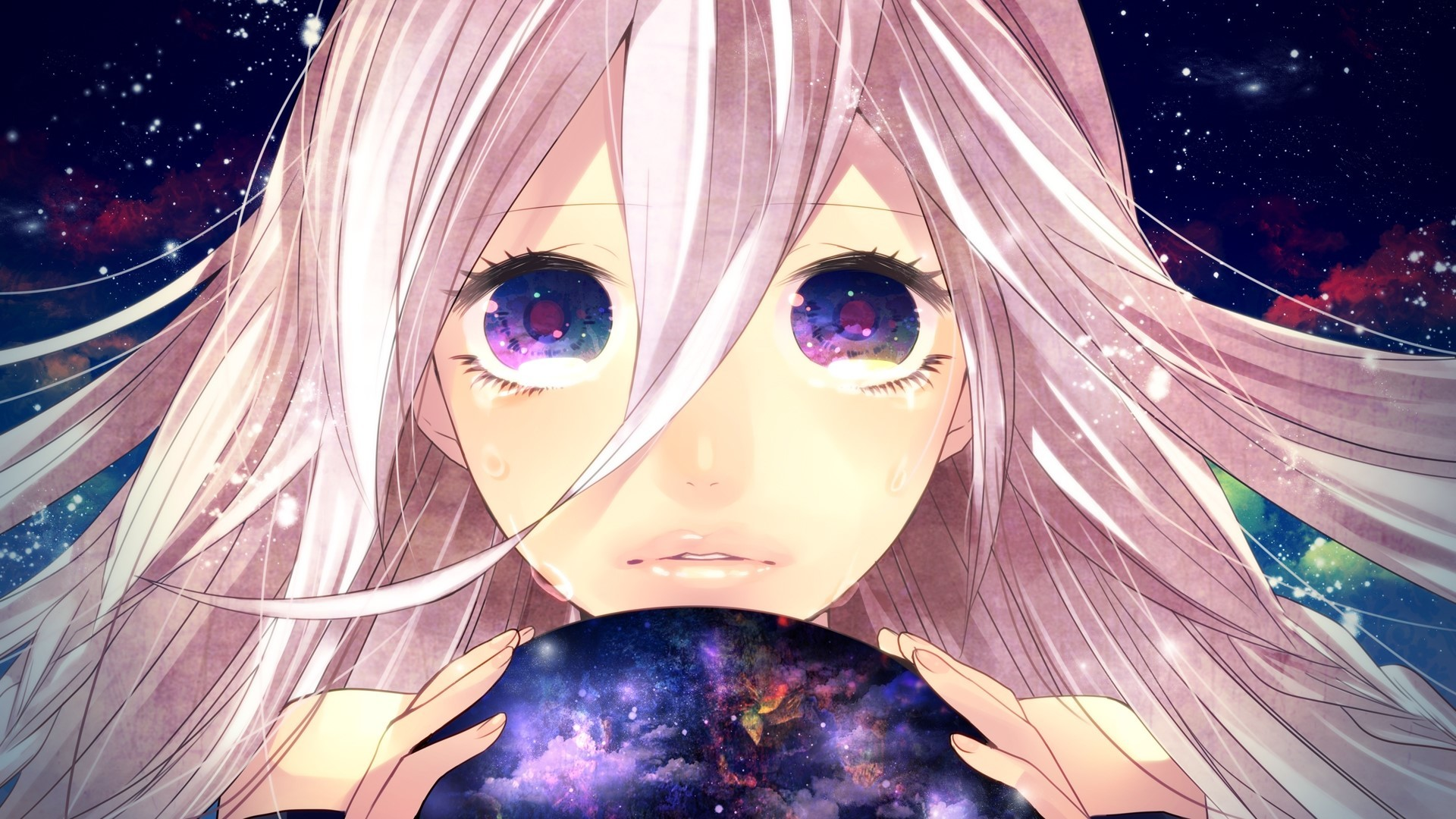 1920x1080  Ia vocaloid, Girl, Pink hair, Tears, Planet, Space, Colorful eyes  wallpaper and background JPG