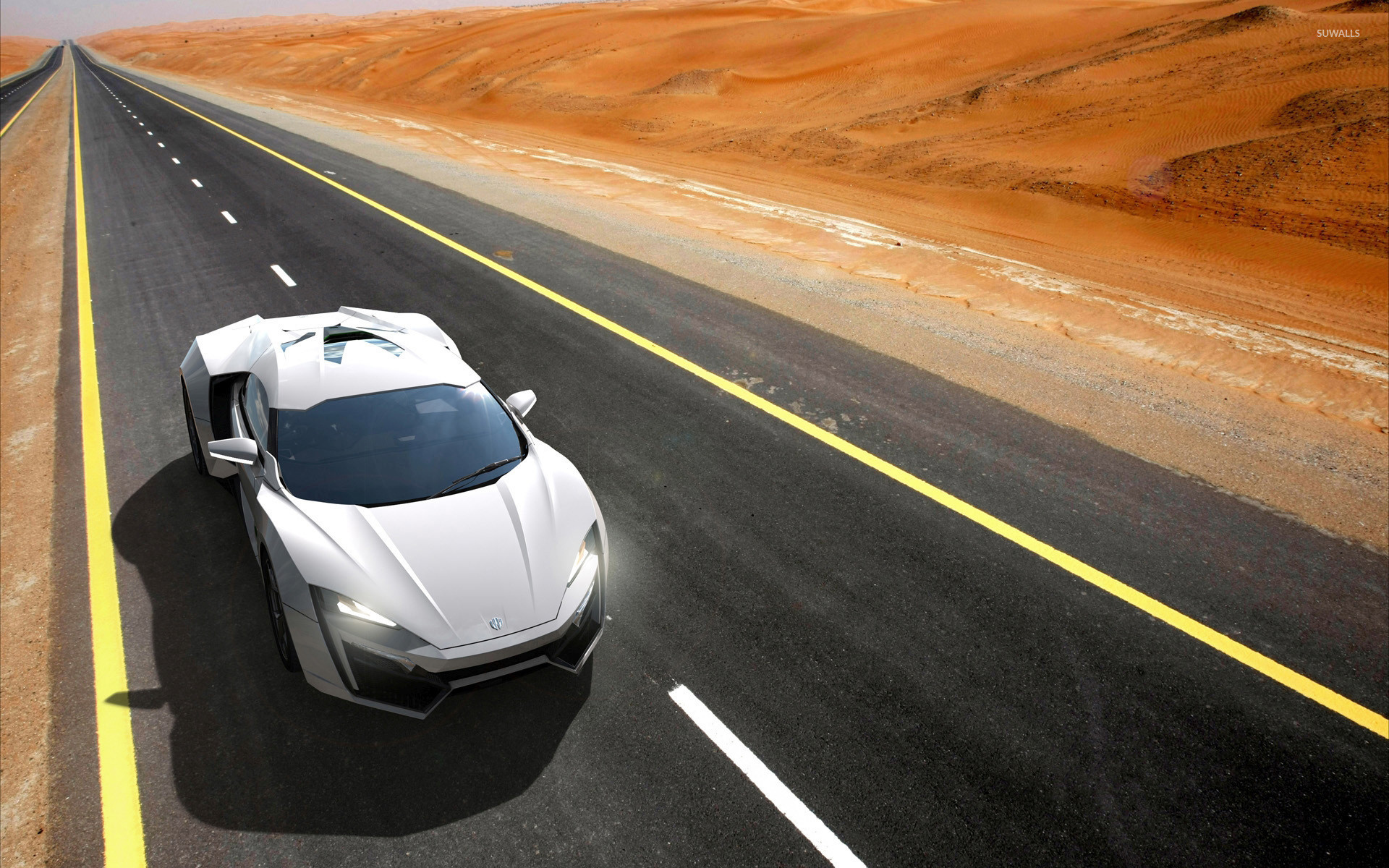 1920x1200 Top view of a white Lykan HyperSport on the road wallpaper