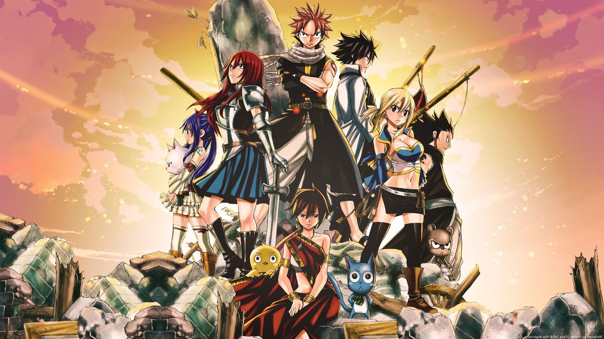 1920x1080 anime, Fairy Tail, Scarlet Erza, Fullbuster Gray, Dragneel Natsu . ...
