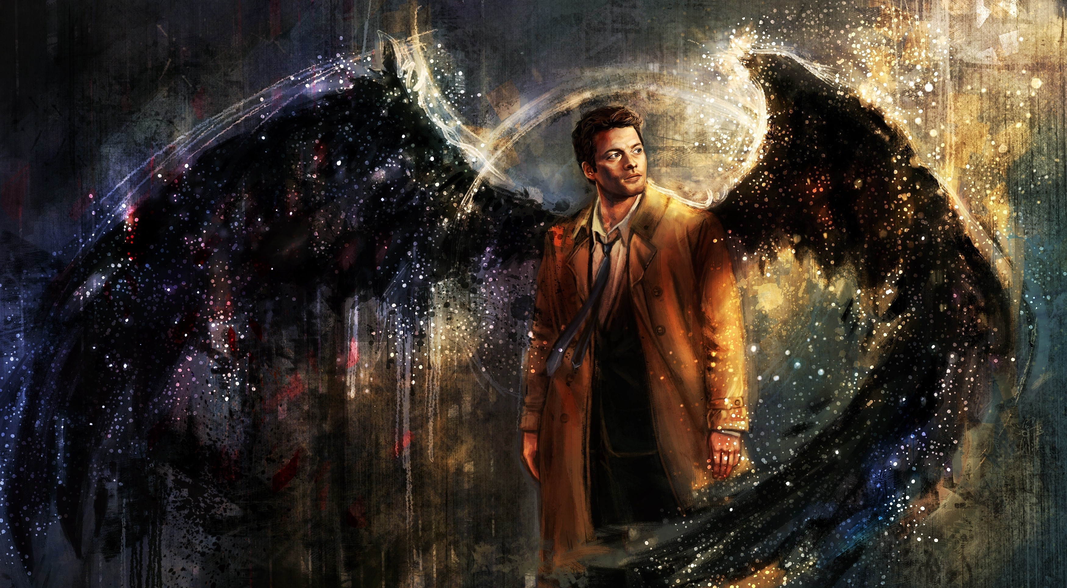 3500x1928  Castiel, Drawing, Supernatural, Artwork, Wings, Painting  Wallpapers HD / Desktop and Mobile Backgrounds