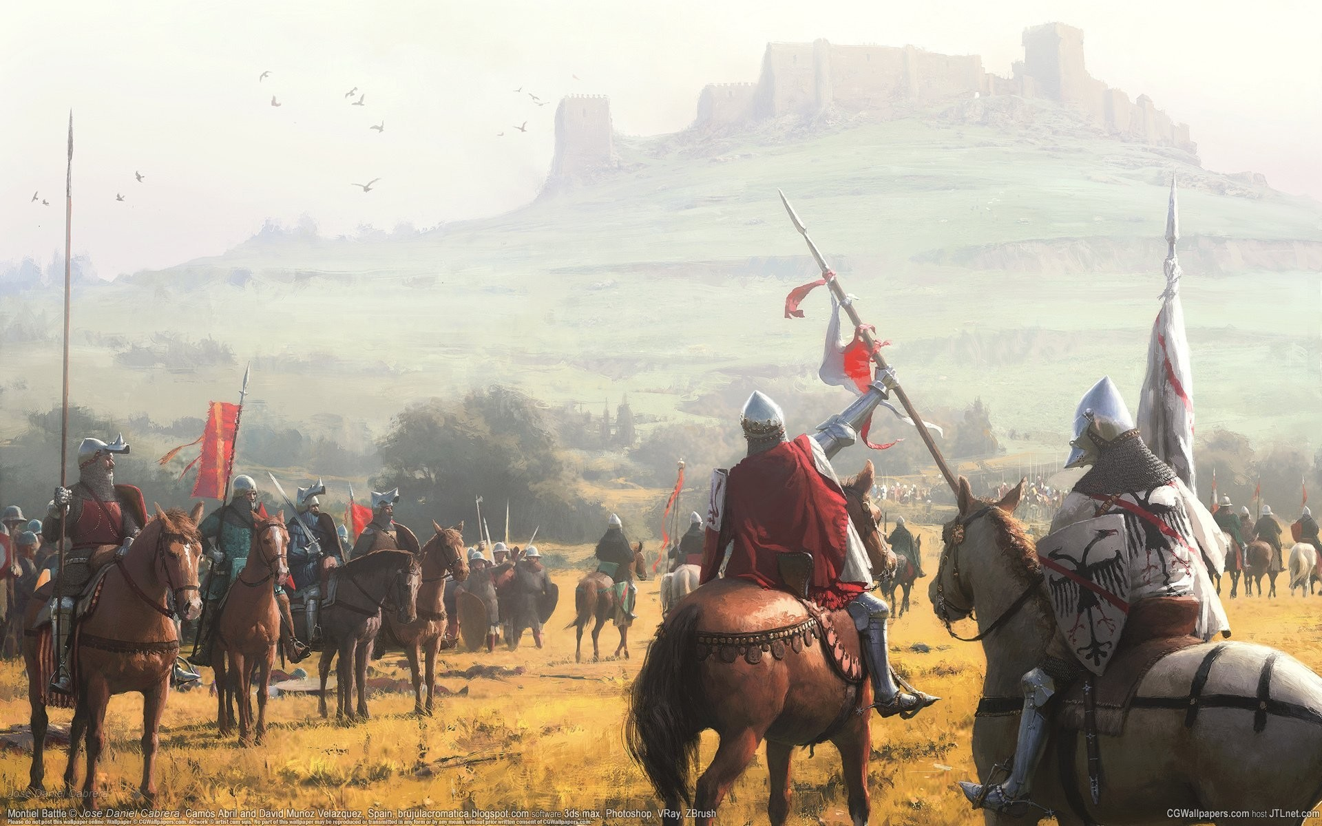1920x1200 jose daniel cabrera montiel battle cg wallpapers middle ages castle knights  horses middle ages castle hill