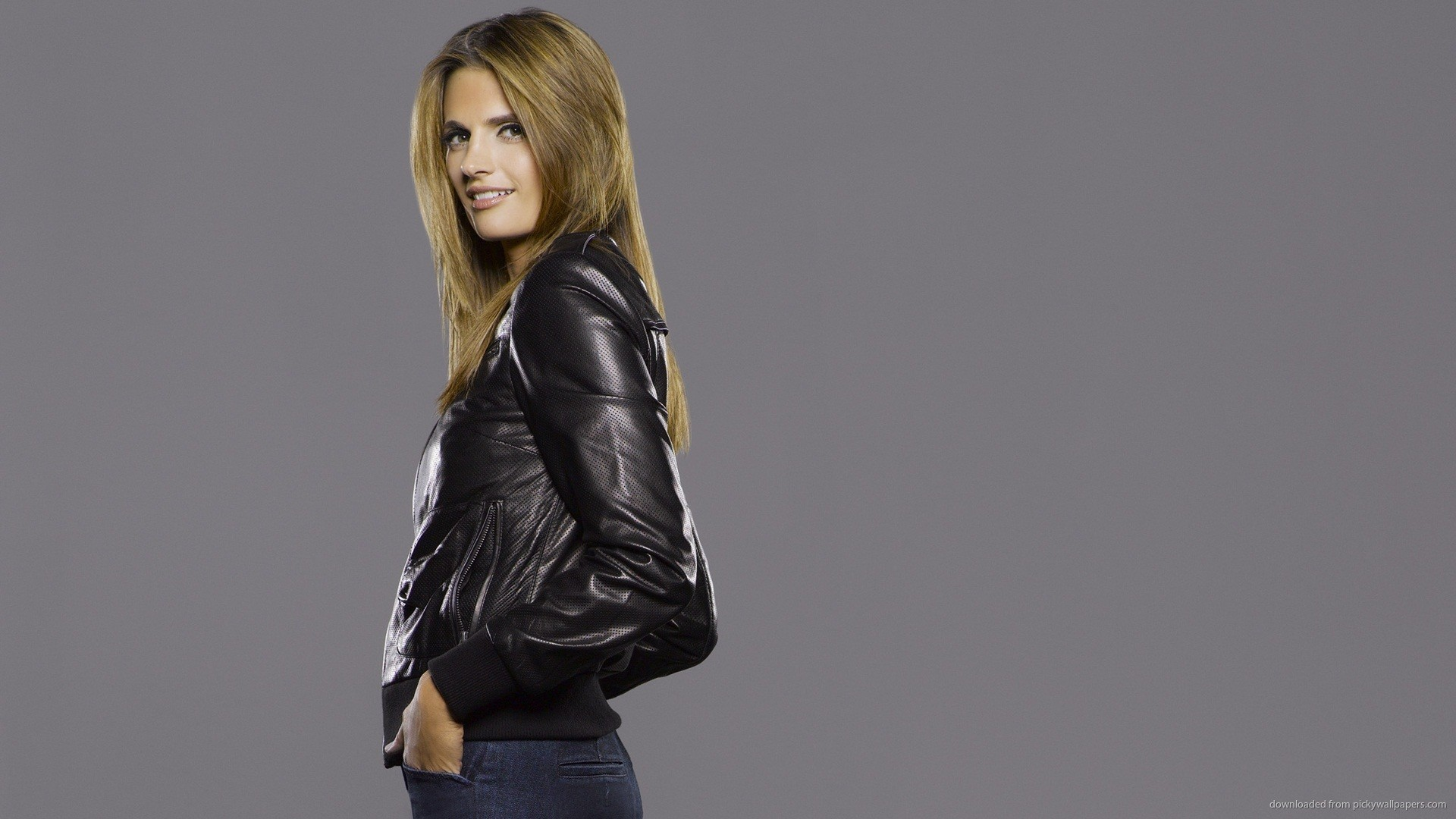 1920x1080 Stana Katic Leather Jacket Wallpaper picture