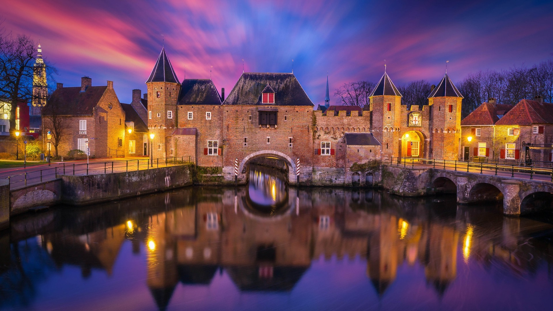 1920x1080 nature, Landscape, Architecture, Castle, Clouds, Water, Reflection, Long  Exposure, Lights, Tower, Sunset, Bridge, Netherlands, Europe Wallpapers HD  ...