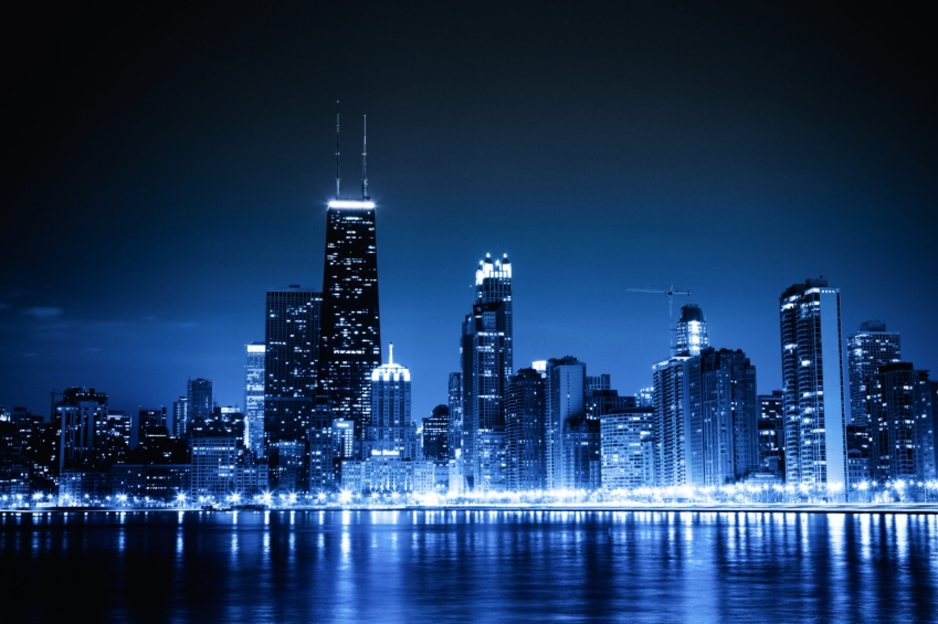 1920x1278 Chicago Blue Skyline Wallpaper