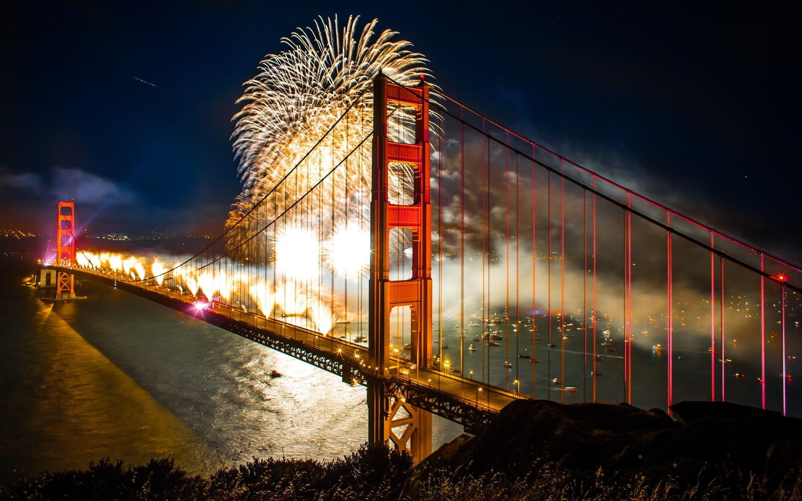 2560x1600 Golden Gate Bridge Night Wallpapers High Quality Resolution