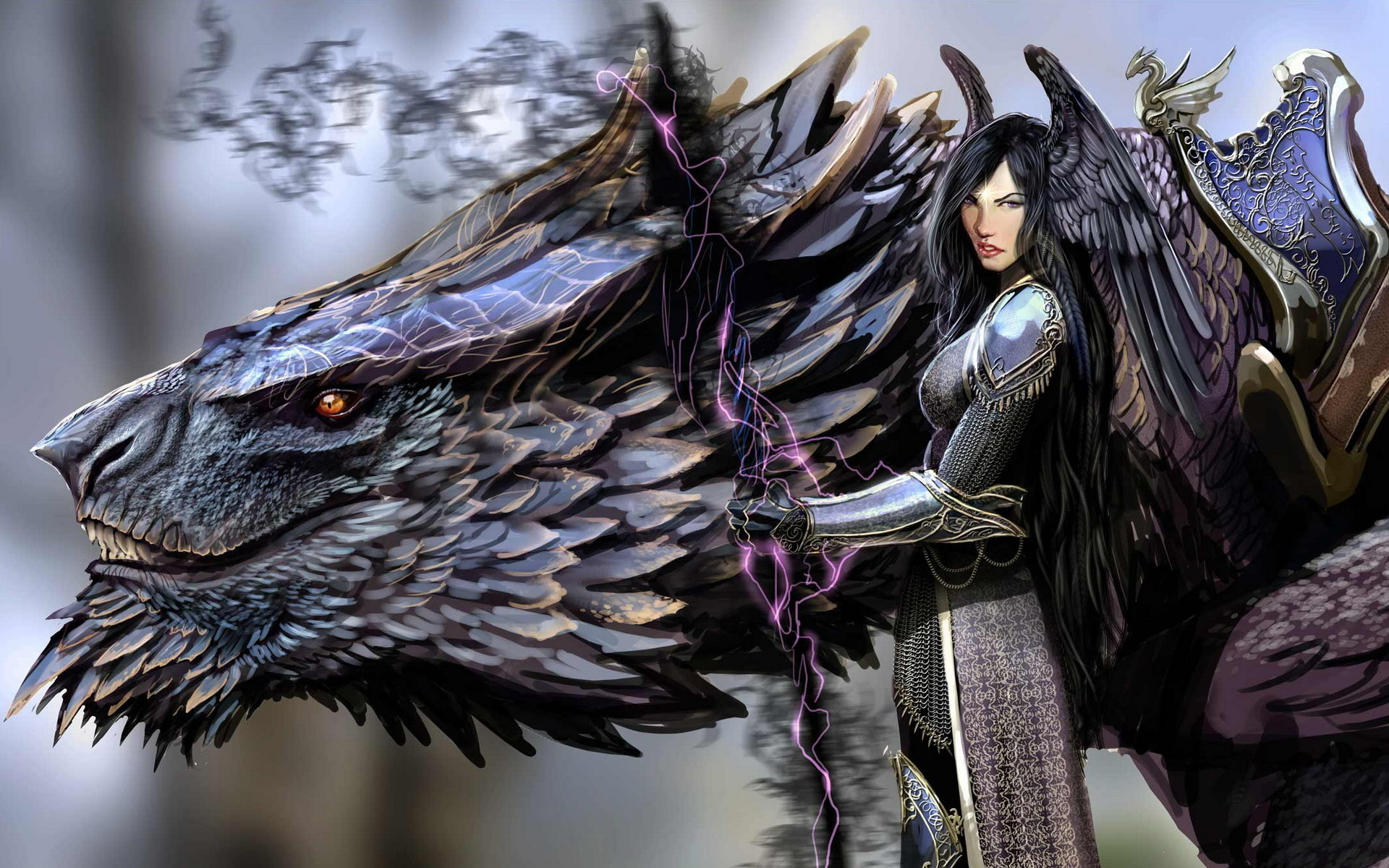 1920x1200 Amazing Dark Angel And Black Dragon Anime HD Wallpaper Picture Image