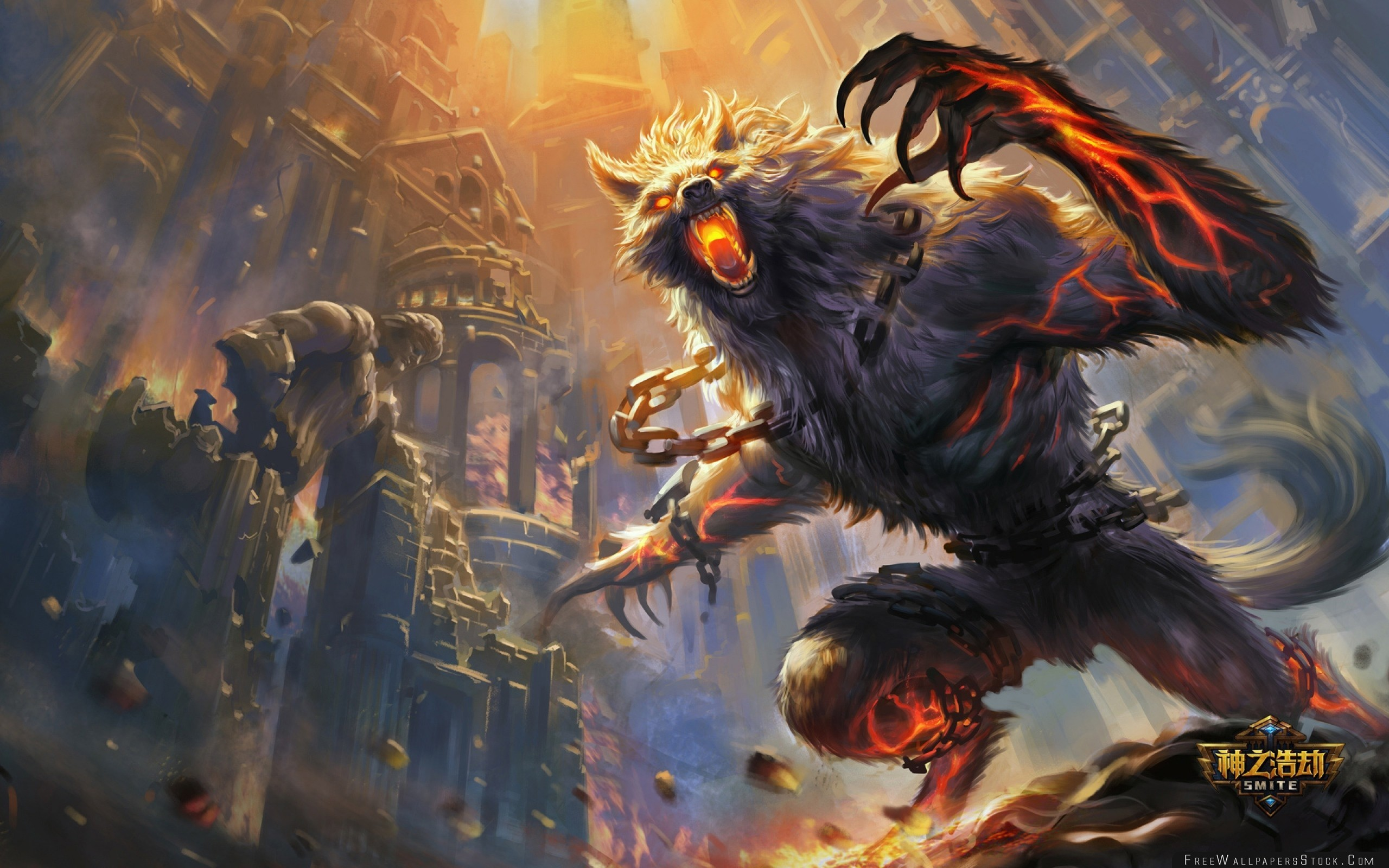 2560x1600 Download Free Wallpaper Smite Wolf Animal Castle Art