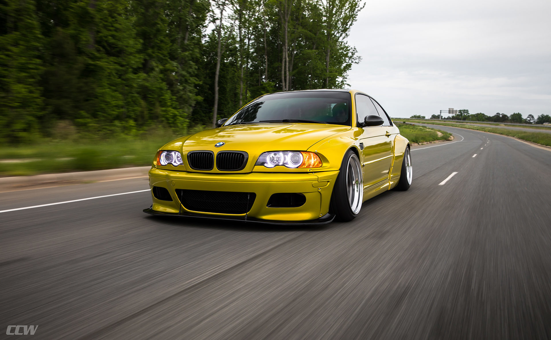 1920x1185 Phoenix Yellow BMW E46 M3 - CCW Classic Wheels Wallpaper