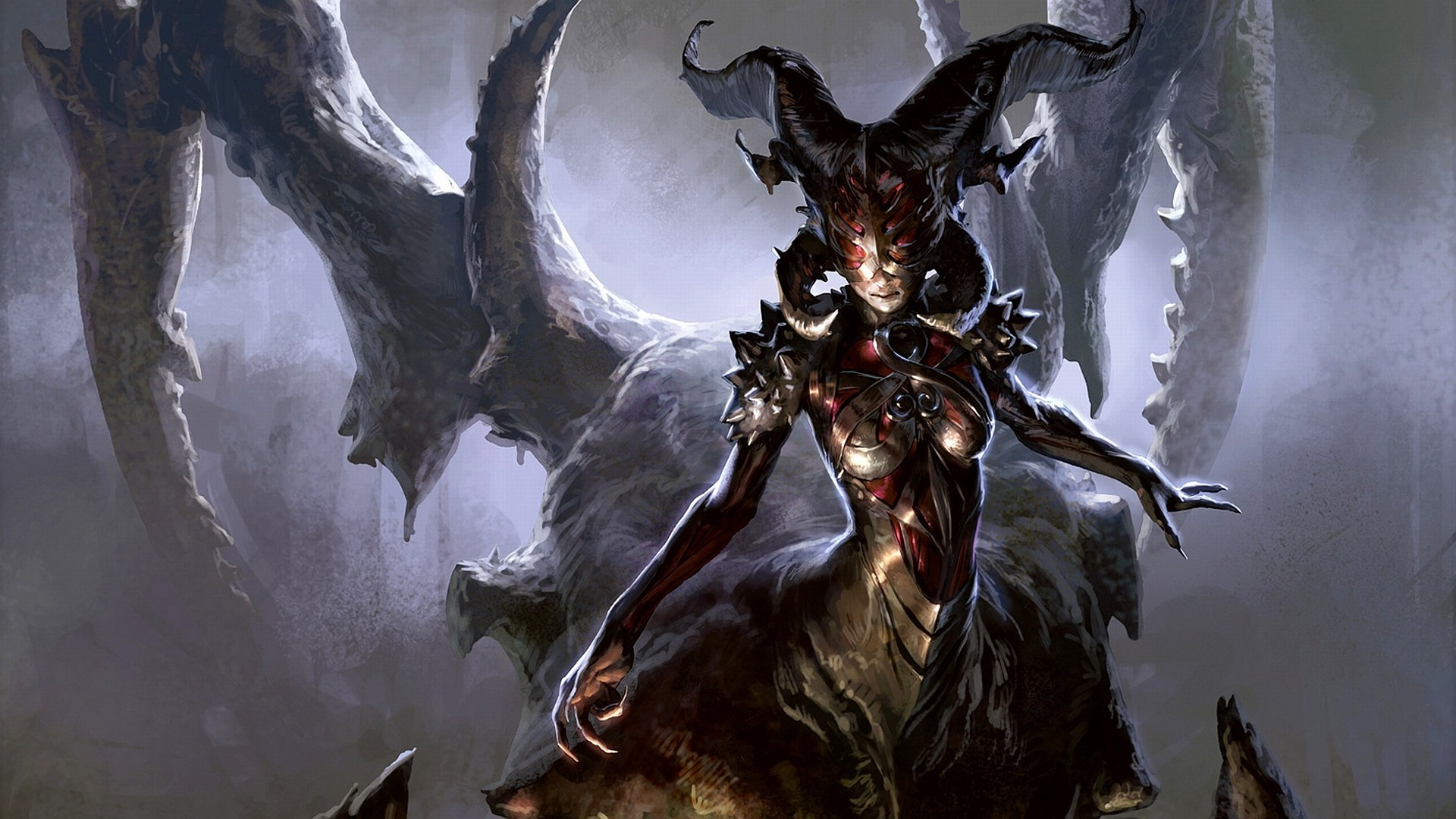 1920x1080 Artwork Demon Girl Demons Devil Fantasy Art Magic The Gathering ...
