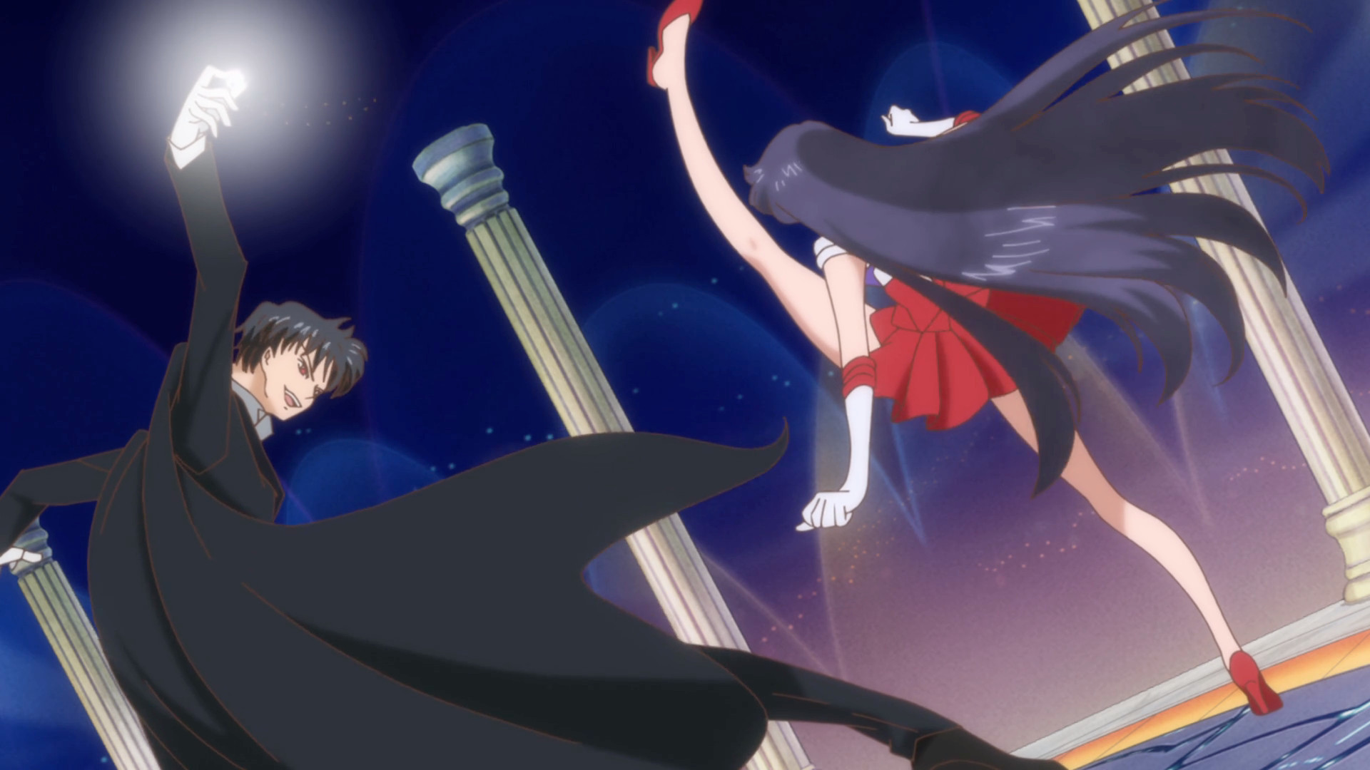 1920x1080 Sailor Moon Crystal Act 11 – Sailor Mars kicks Tuxedo Mask