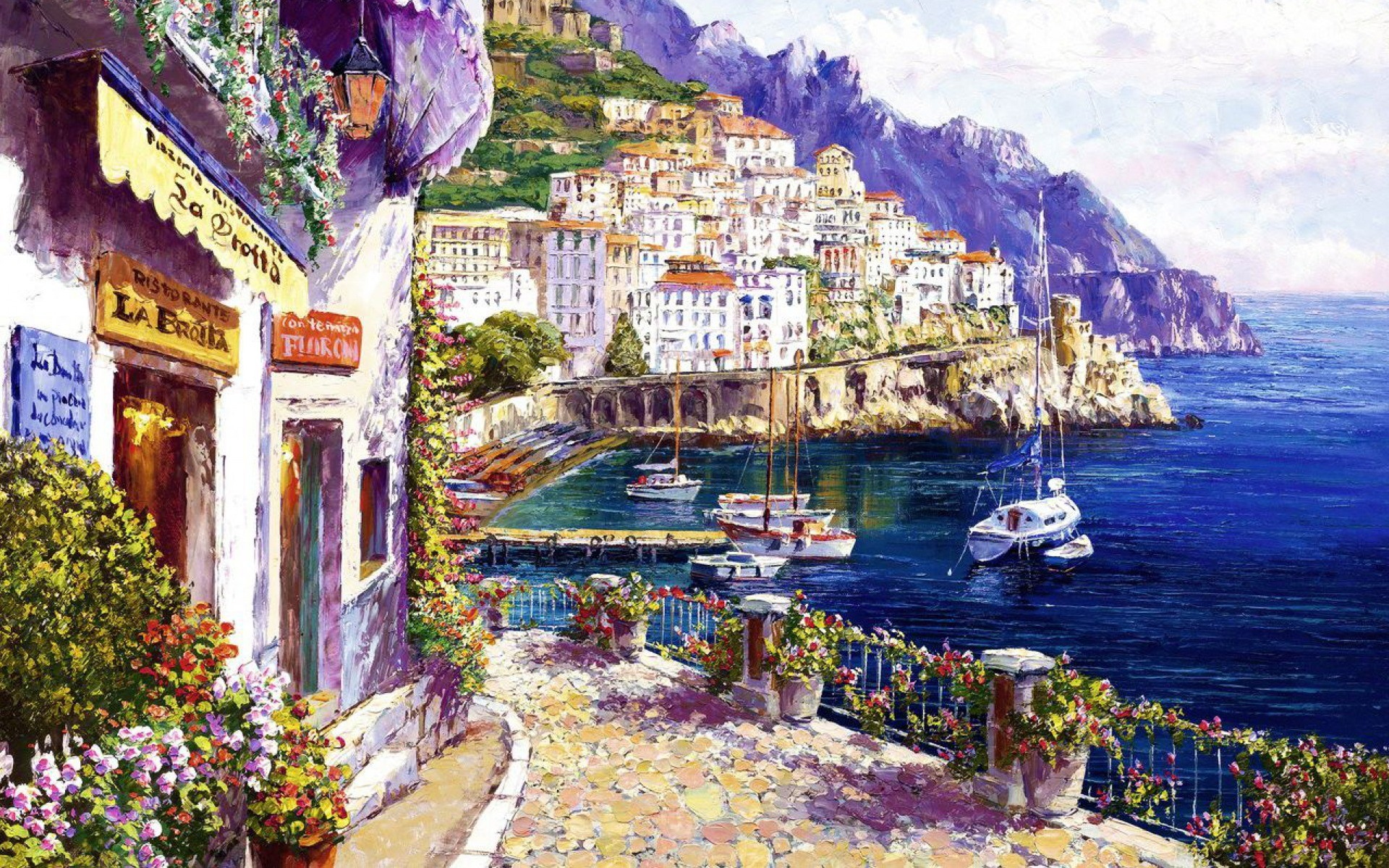 1920x1200 Imagine: Destul de Coasta Amalfi Italia wallpapers and stock photos. Â«