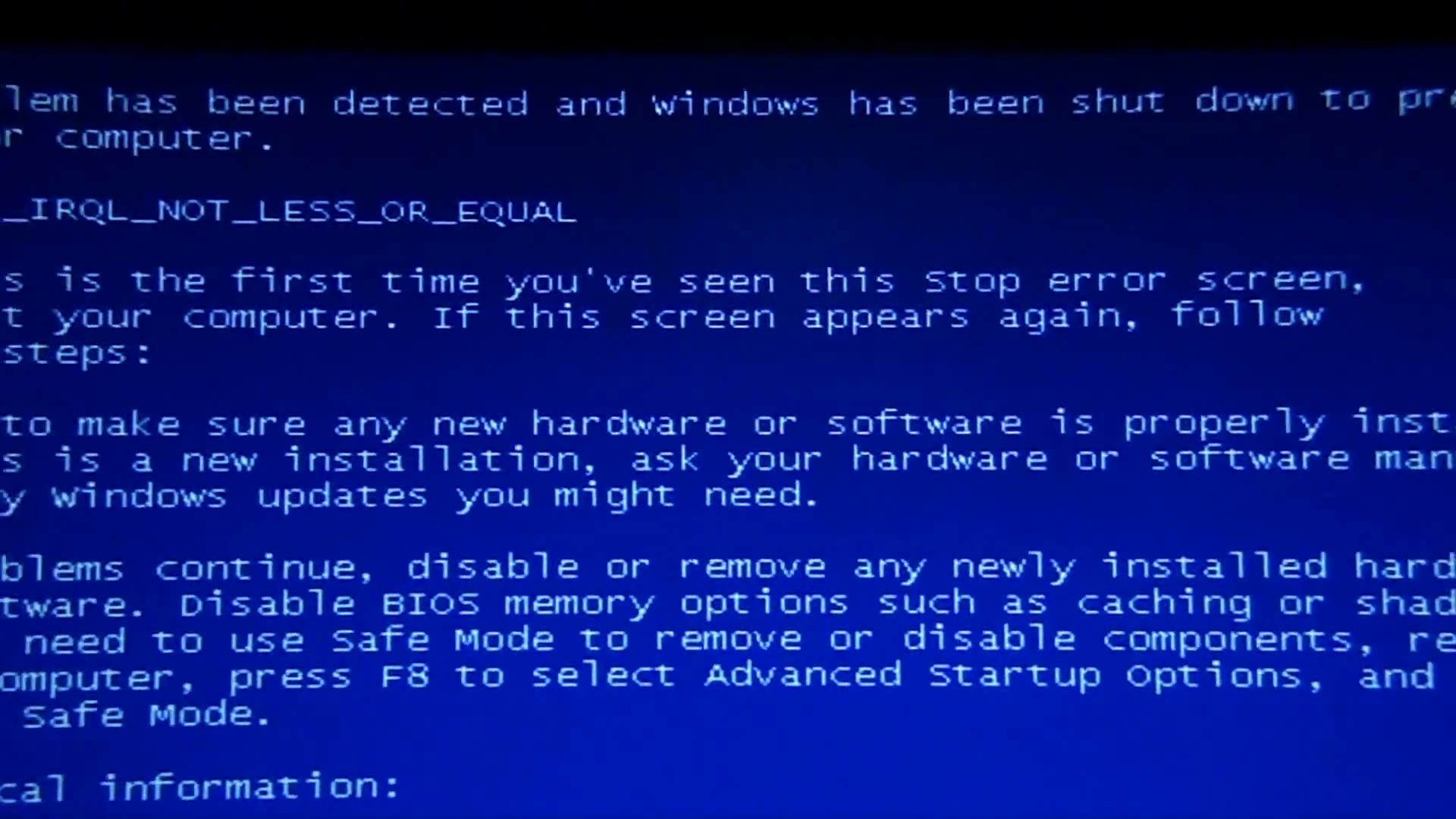 what causes blue screen of death in windows xp