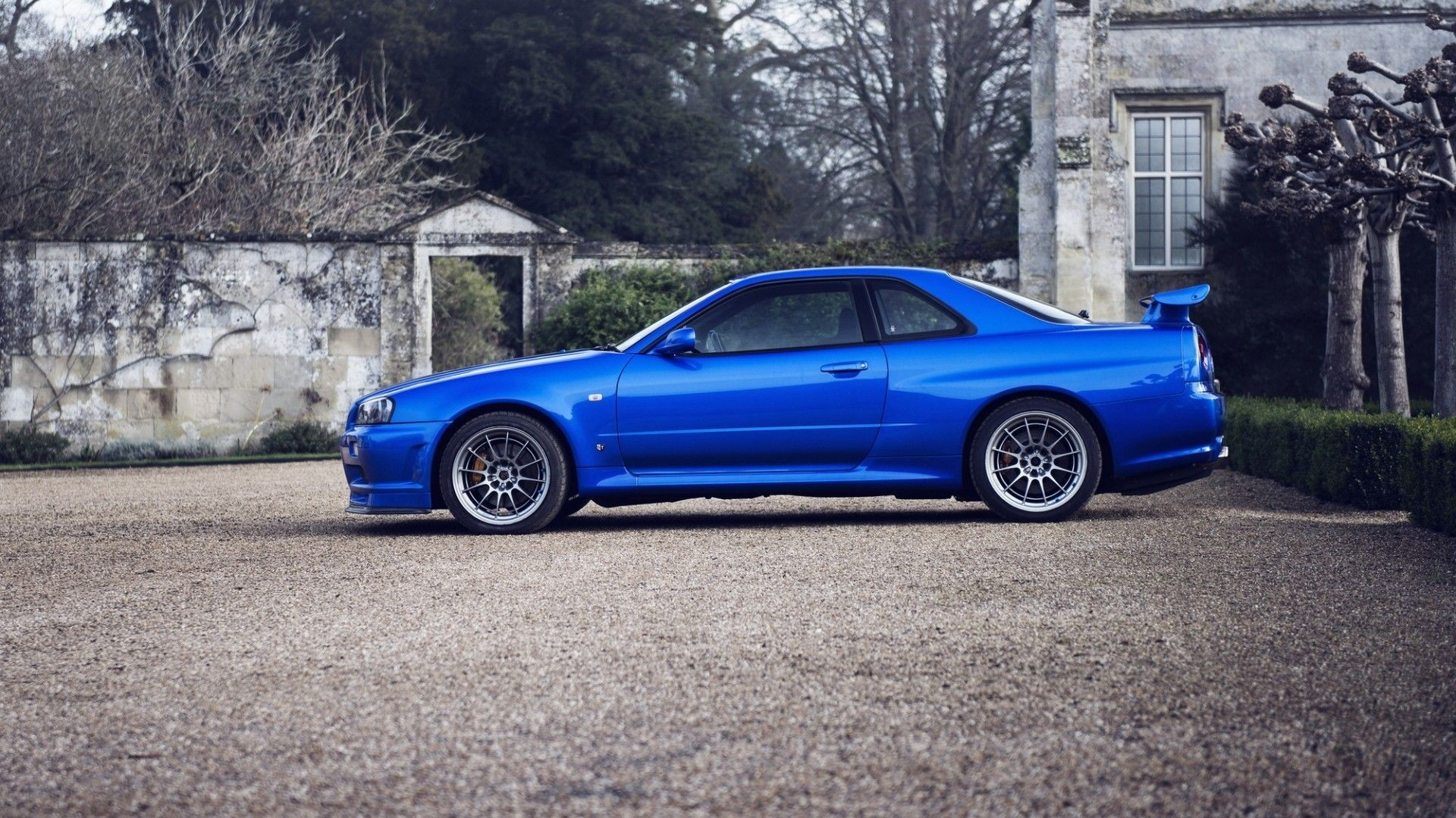 1920x1080 Cars parking rims blue cars Nissan Skyline GT-R r34 wallpaper .