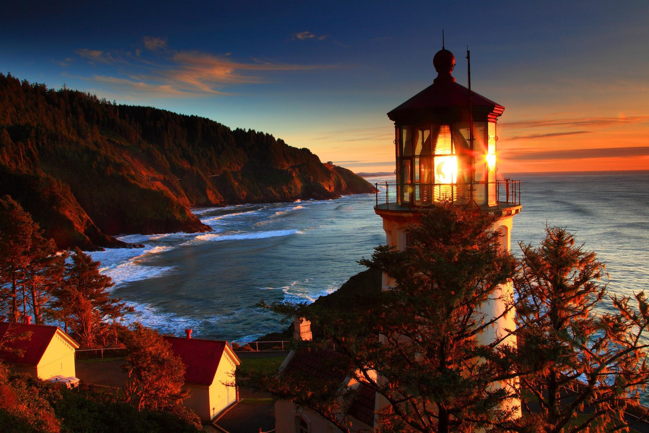 2100x1400 Oregon Coast Sea Lighthouse Sunset Landscape Ocean Sunrise Autumn Cool