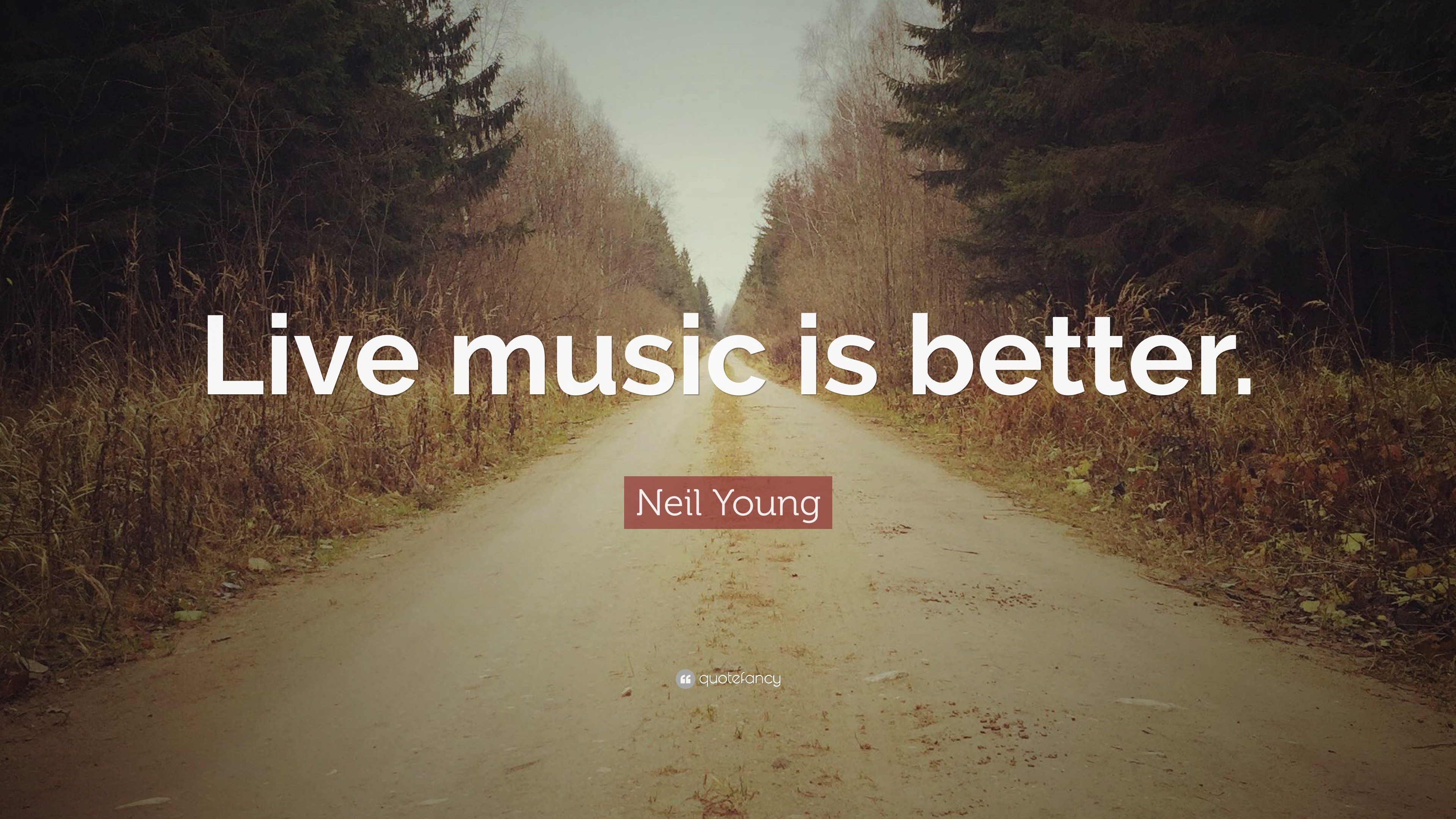 "3840x2160 Neil Young Quote: ""Live music is better."""