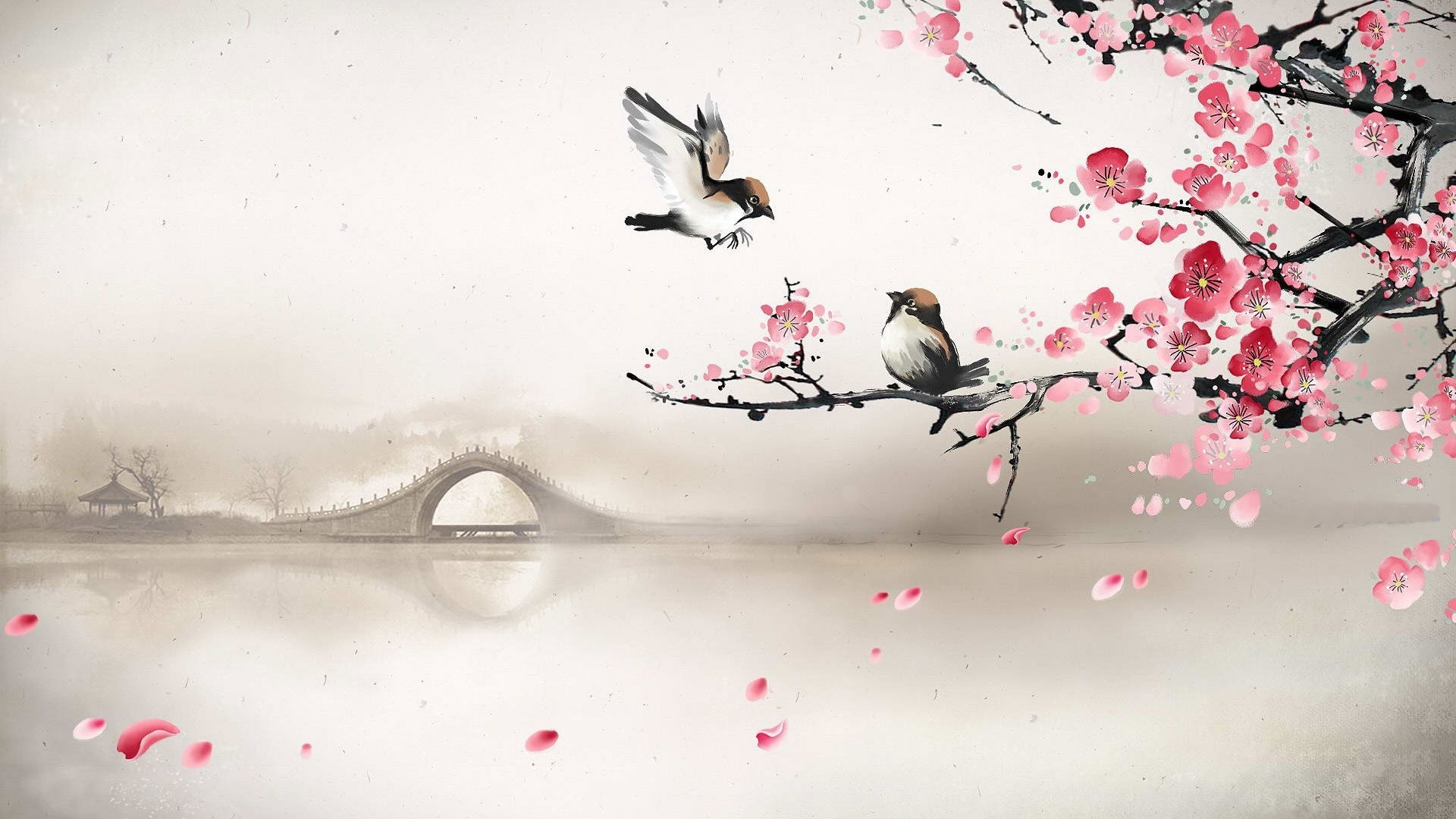 1920x1080 Art asian oriental flowers blossom bridges wallpaper |  .