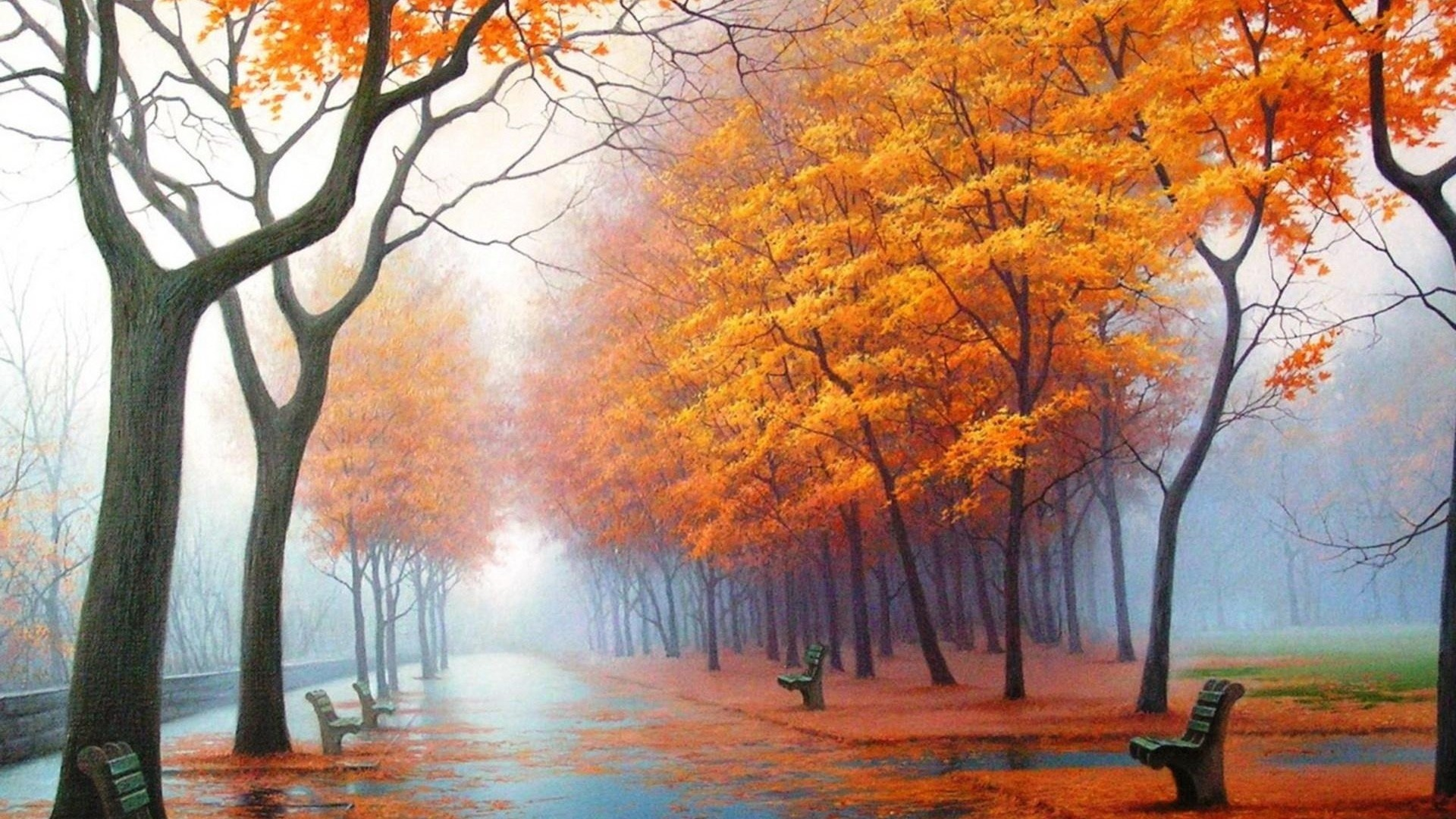 1920x1080 Preview wallpaper autumn, park, avenue, benches, trees, leaf fall, fog
