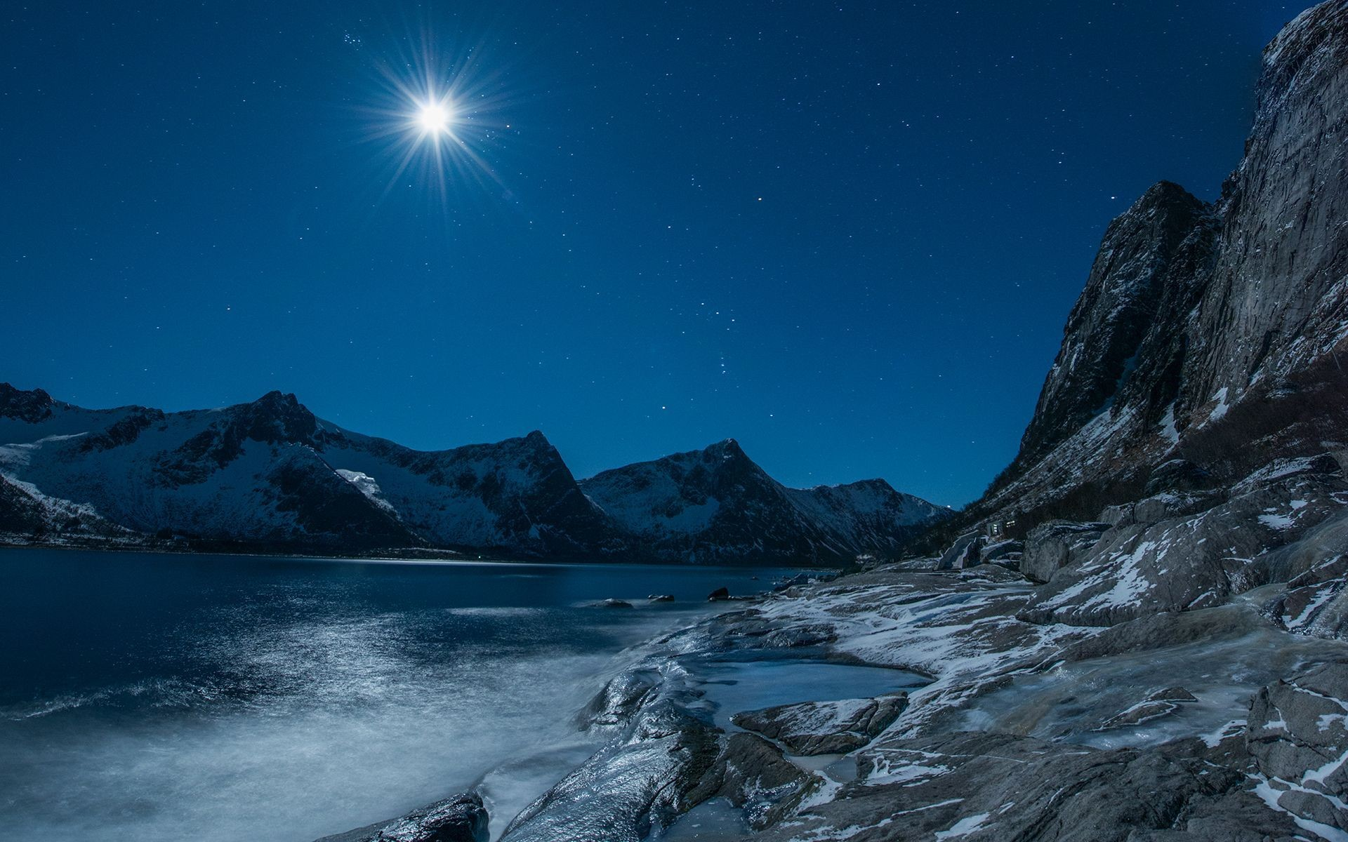 Tropical Waves Sky Mountains Clouds Island Moon Night: Moonlight Night Wallpaper (59+ Images