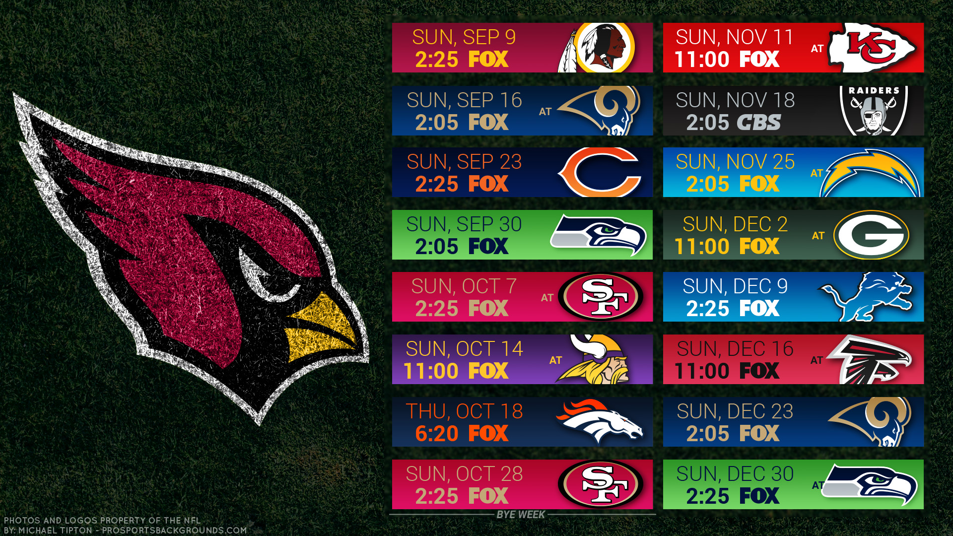 1920x1080 Arizona Cardinals 2018 schedule turf logo wallpaper free for desktop pc  iphone galaxy and andriod printable ...