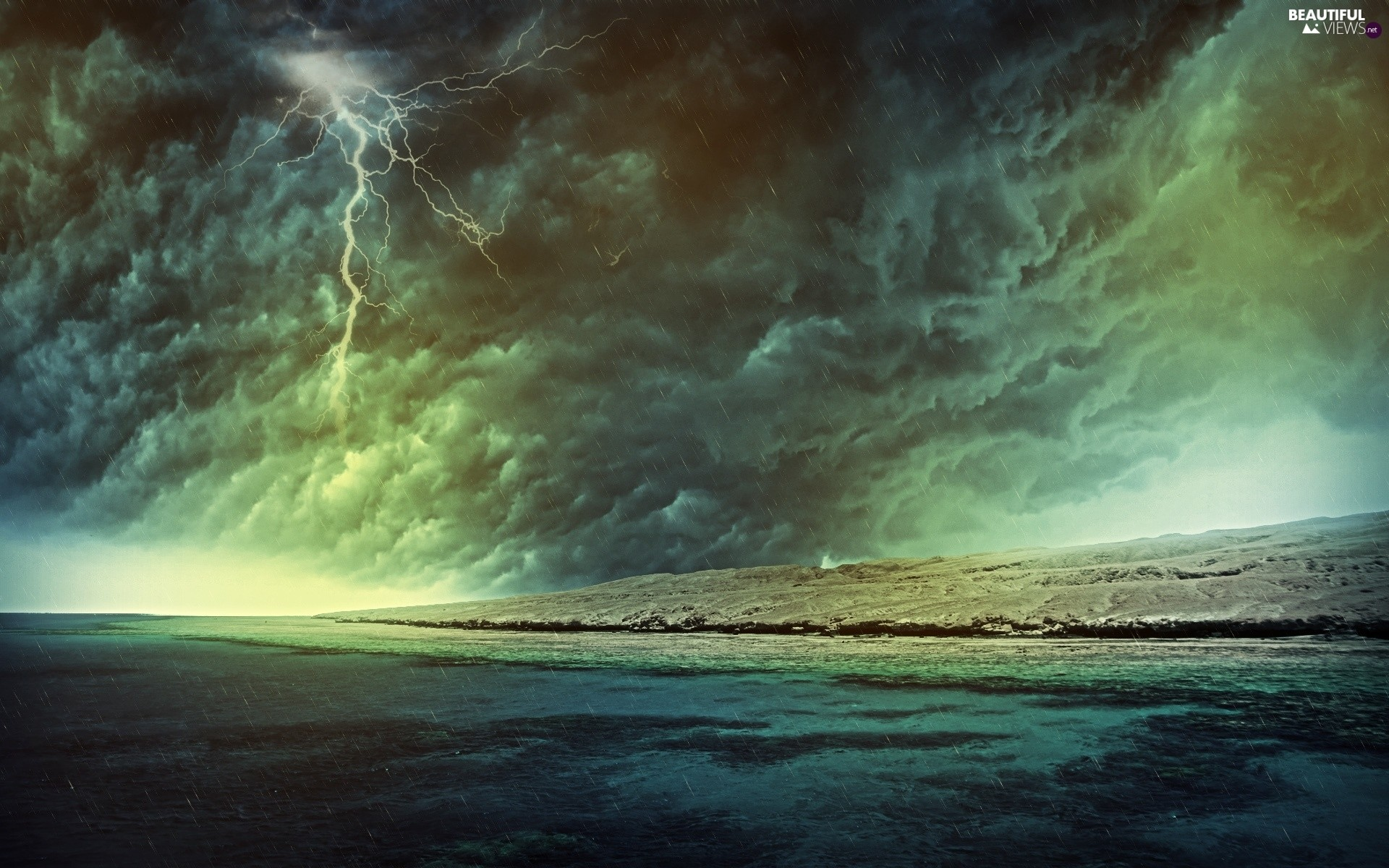 1920x1200 Rain, Storm, Coast, lightning, clouds