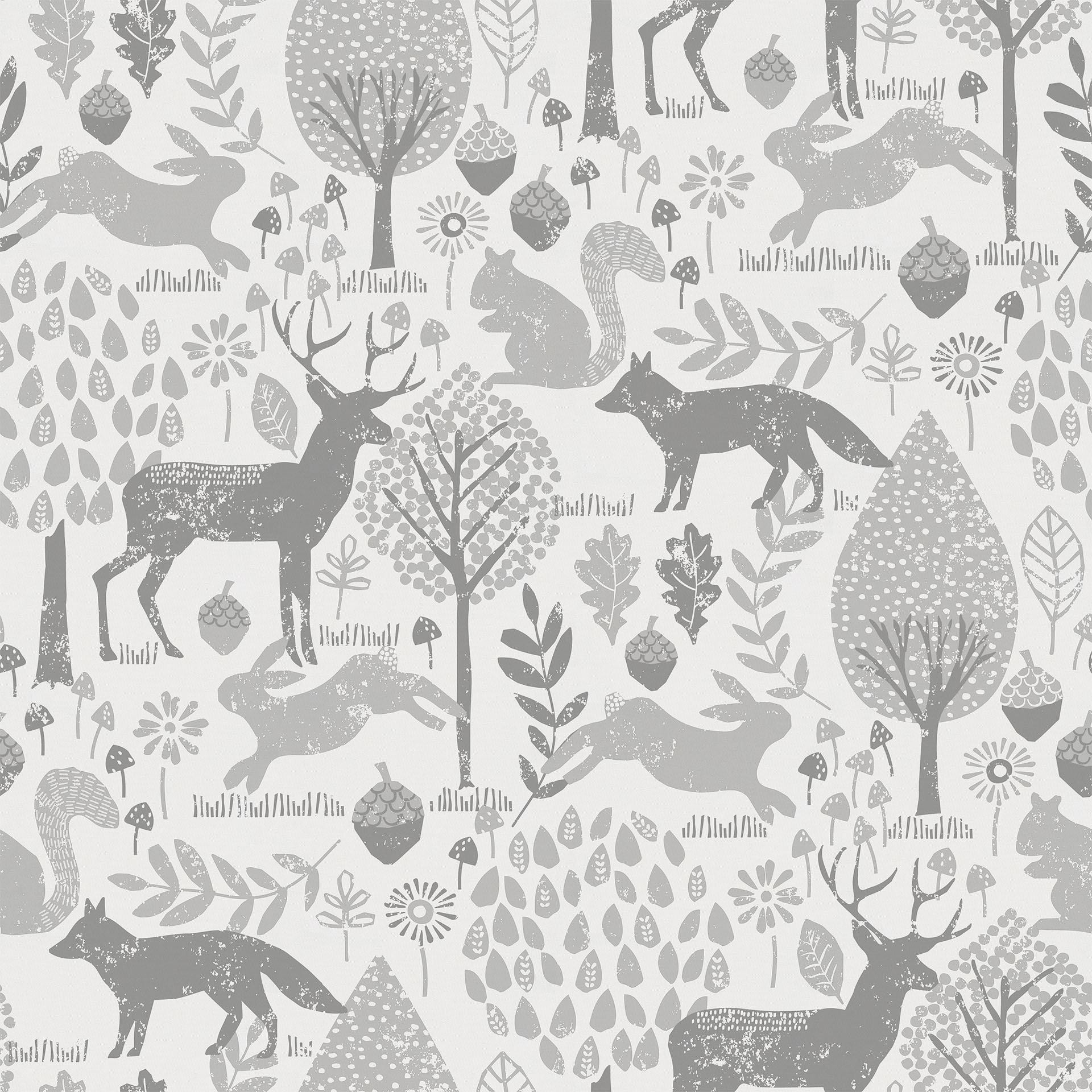 1920x1920 Gray Woodland Animals Fabric by the Yard