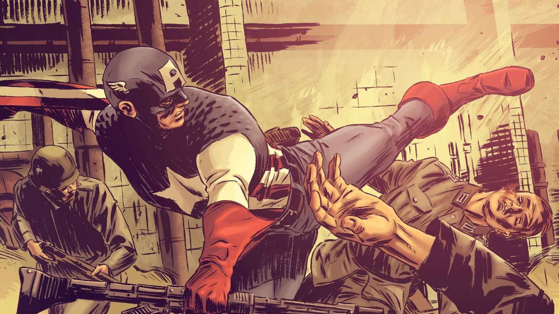 1920x1080 Preview wallpaper comics, superhero, captain america, picture, background