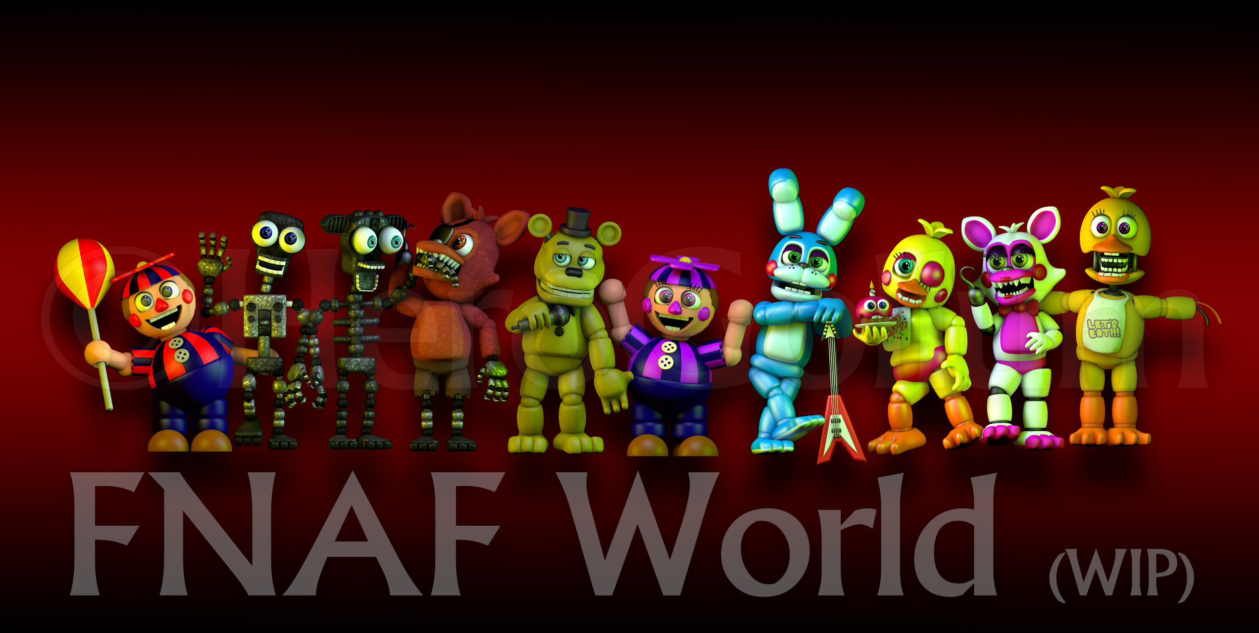 2543x1280 FNAF World Art! by HeroGollum on DeviantArt