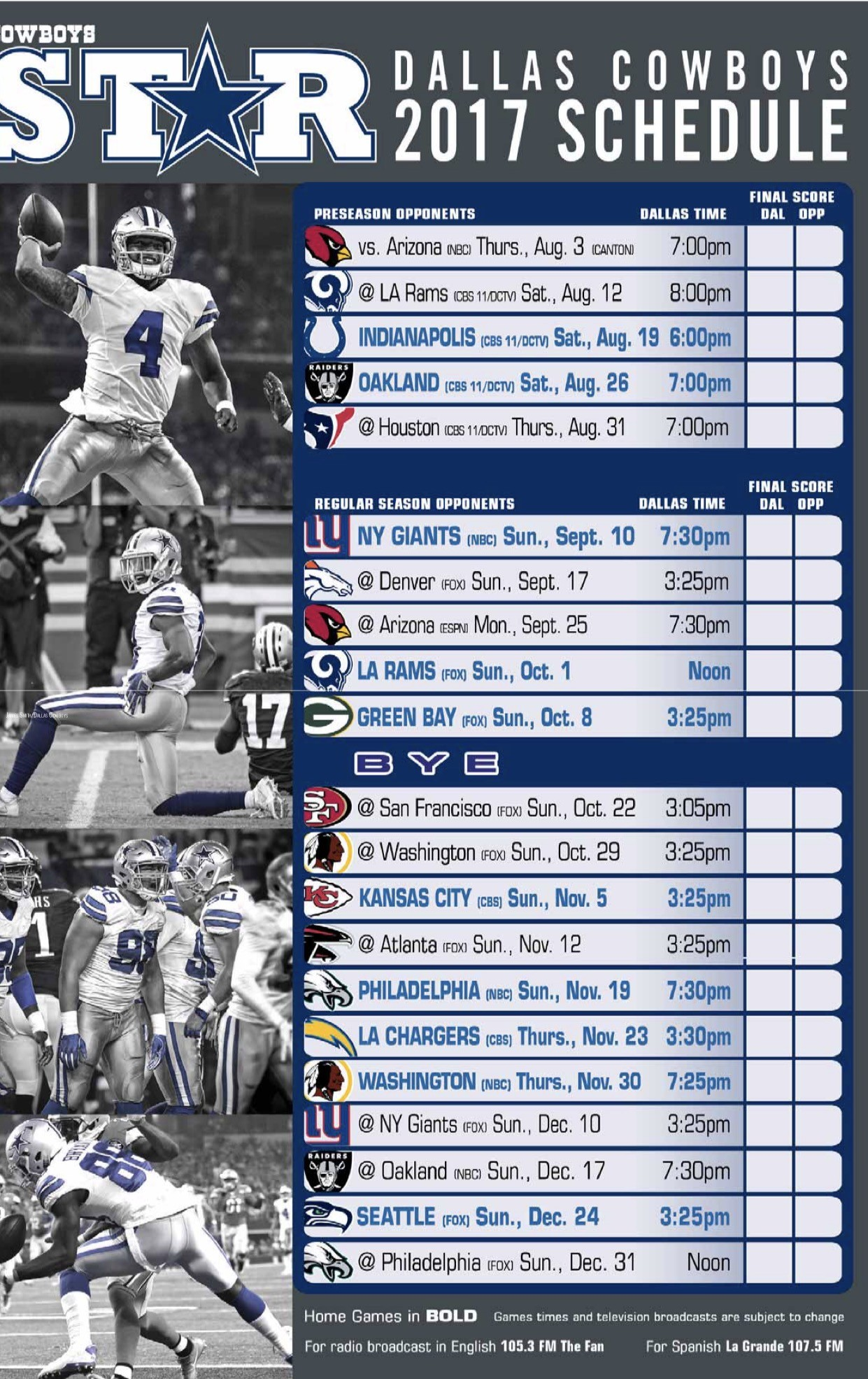 Monster image for printable dallas cowboys schedule
