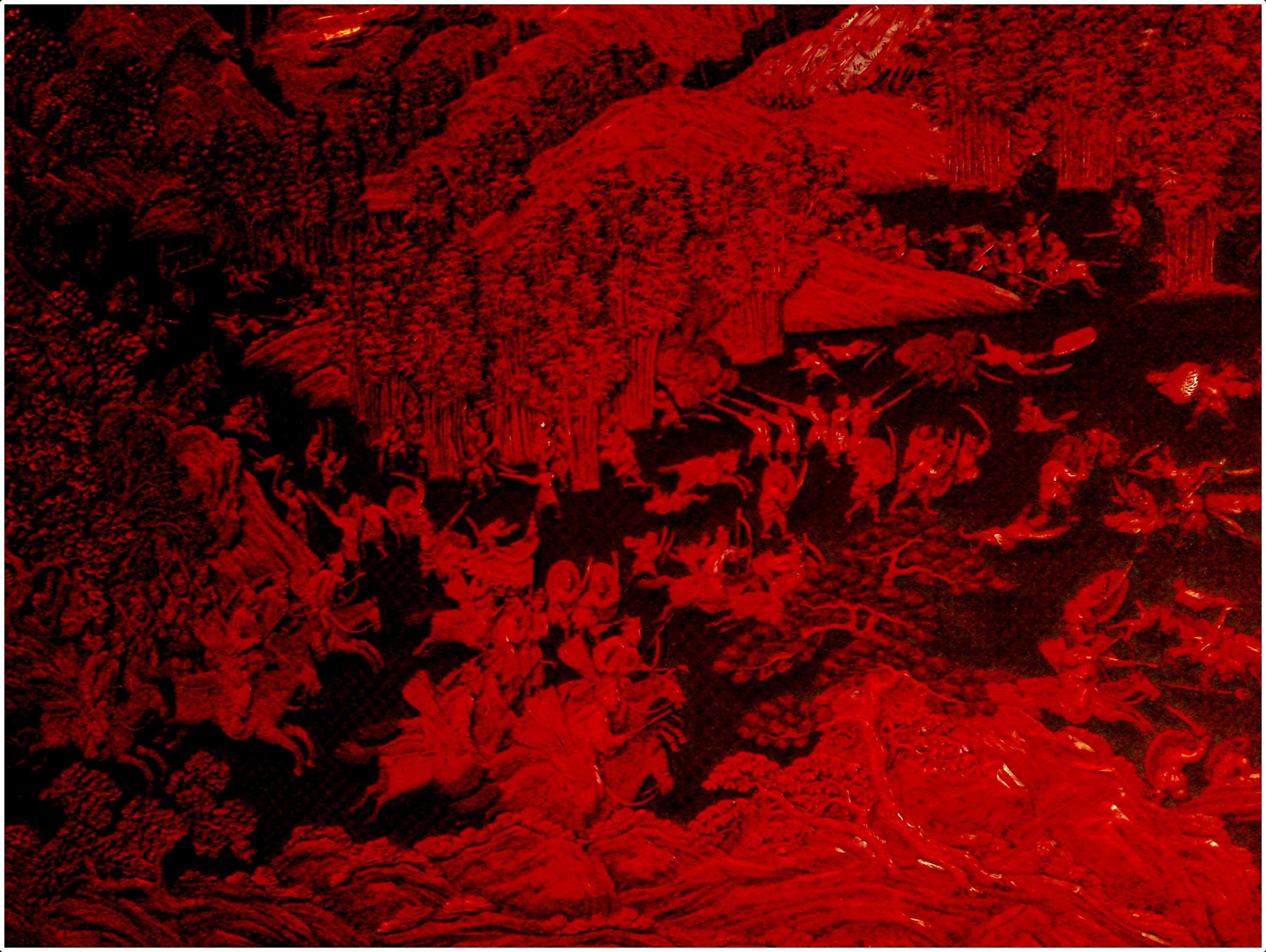 2610x1962 Carved red chinese battle scene wallpaper