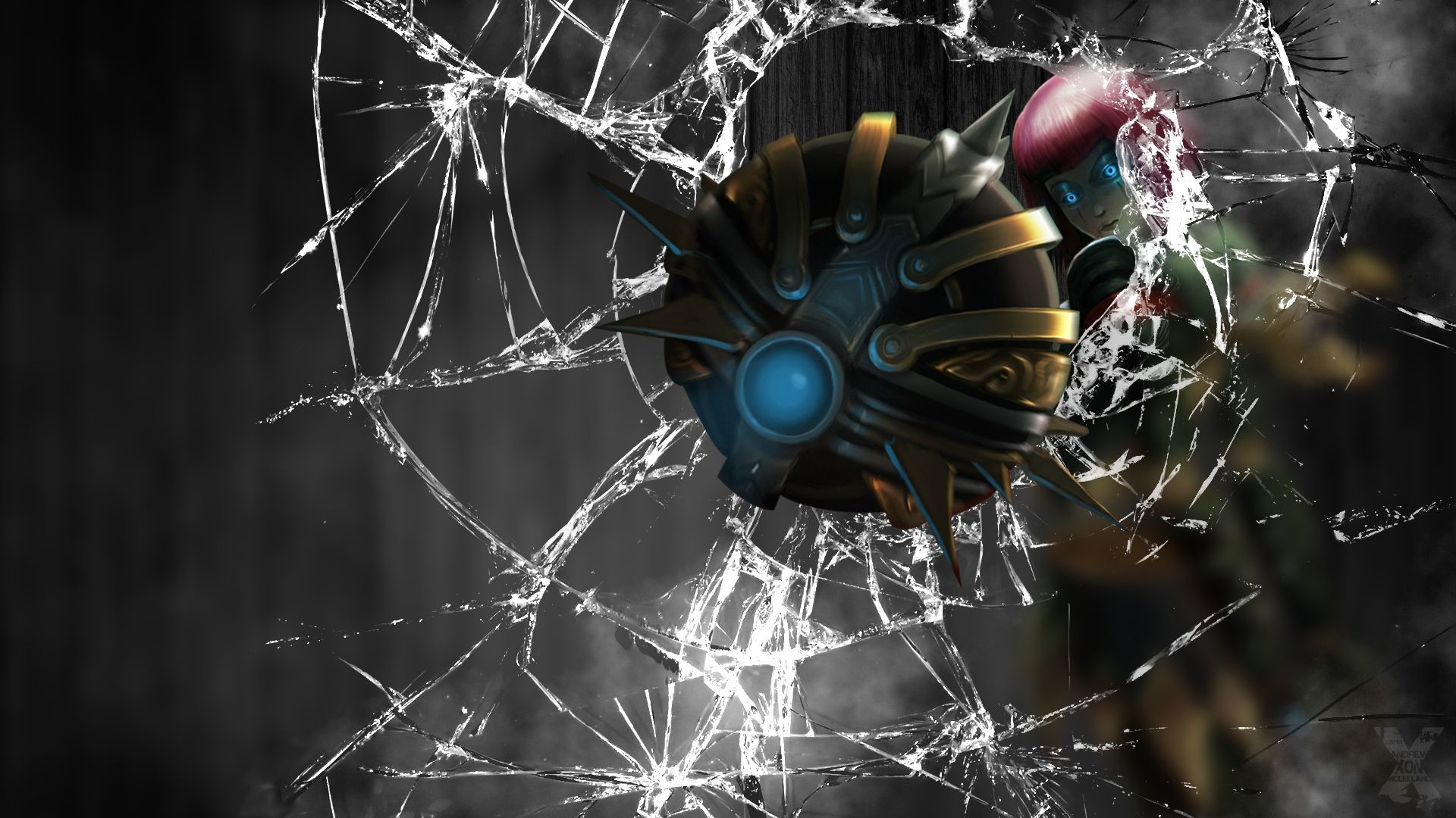 1920x1080 Crack Screen Broken Window Wallpaper Orianna League of Le.