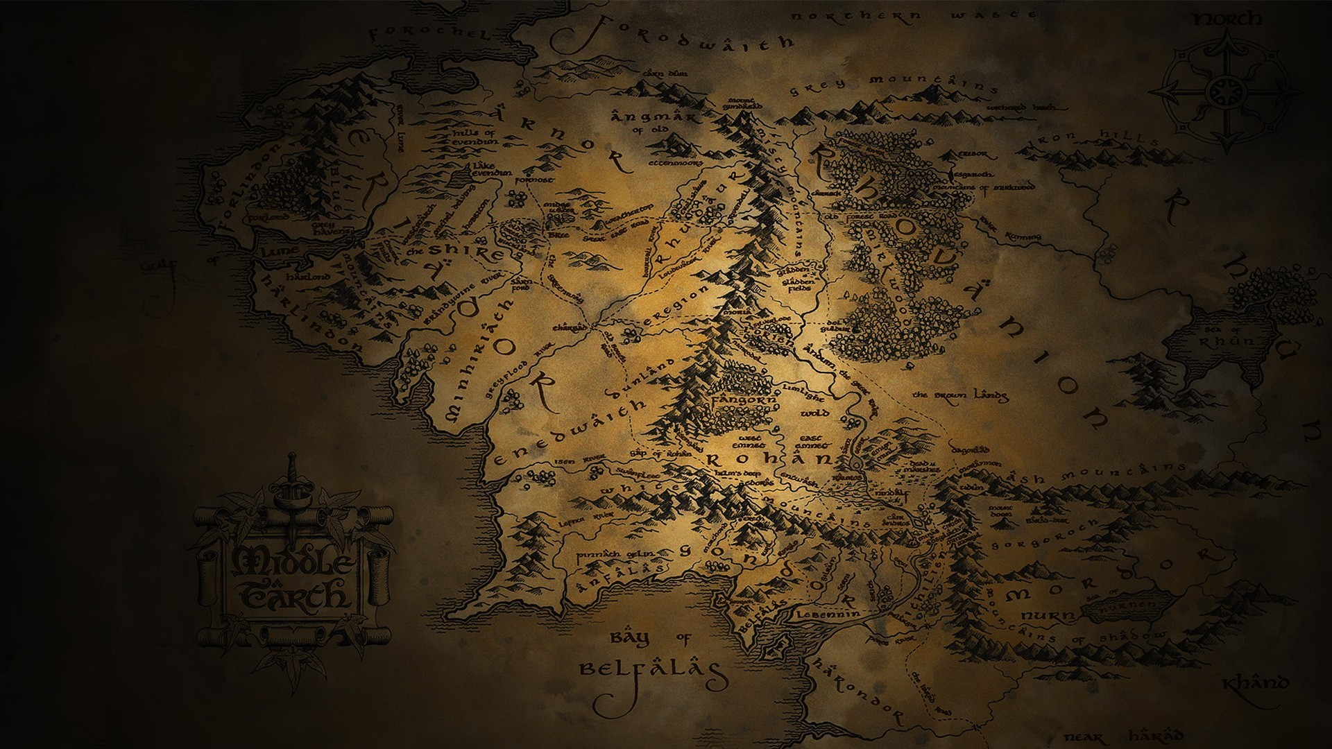 1920x1080 Middle Earth Map   The Lord Of The Rings HD Wallpaper 1920x1080