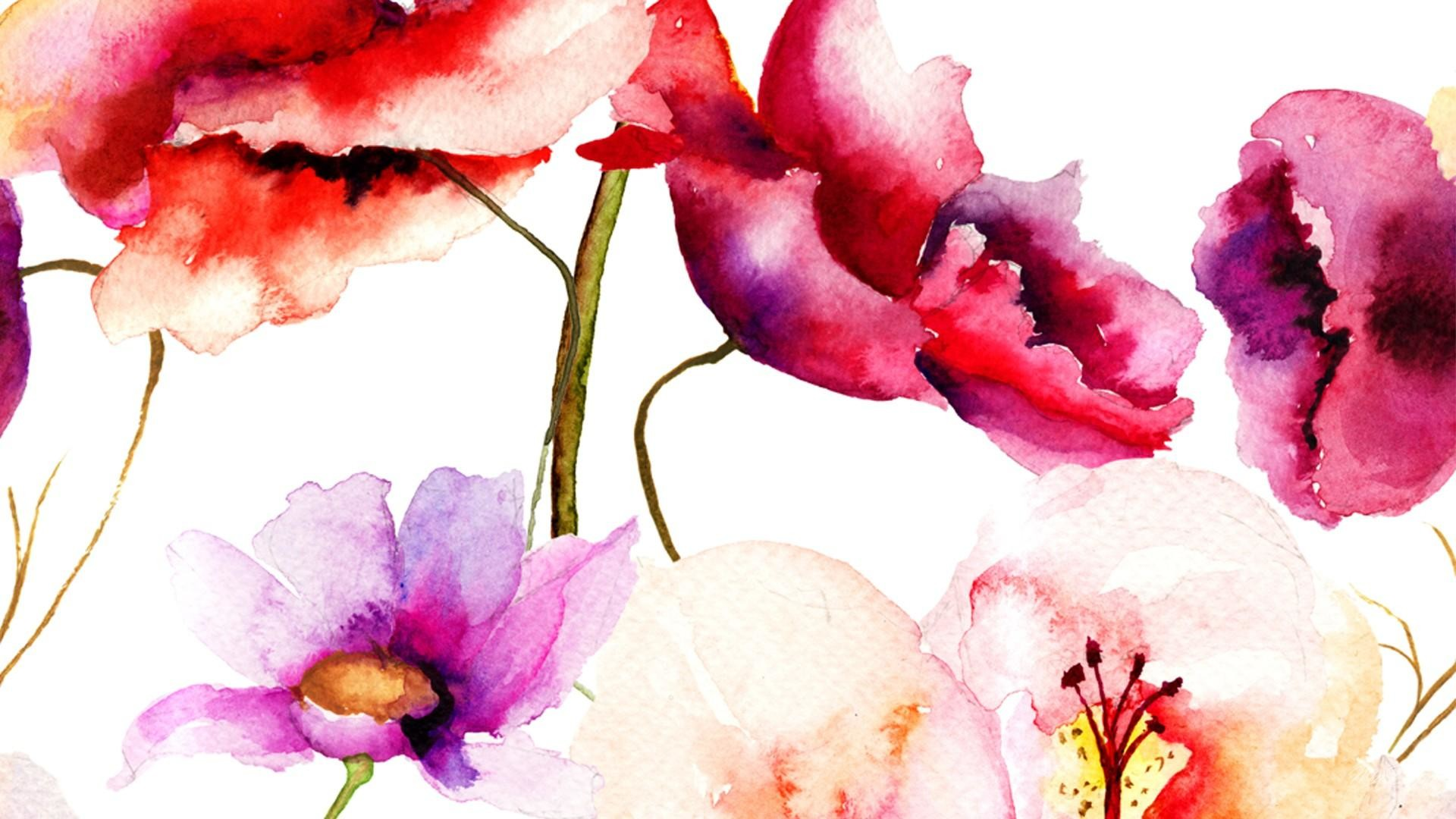 1920x1080 Beautiful art flower watercolor wallpaper.