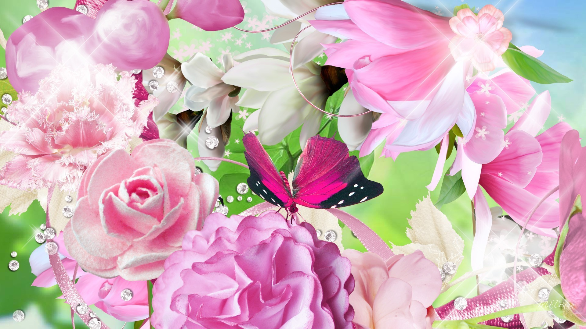 1920x1080 January 6, 2017 - Summer Bouquet Flowers Butterfly Roses Pink Peony Fleurs  Papillon Spring Floral
