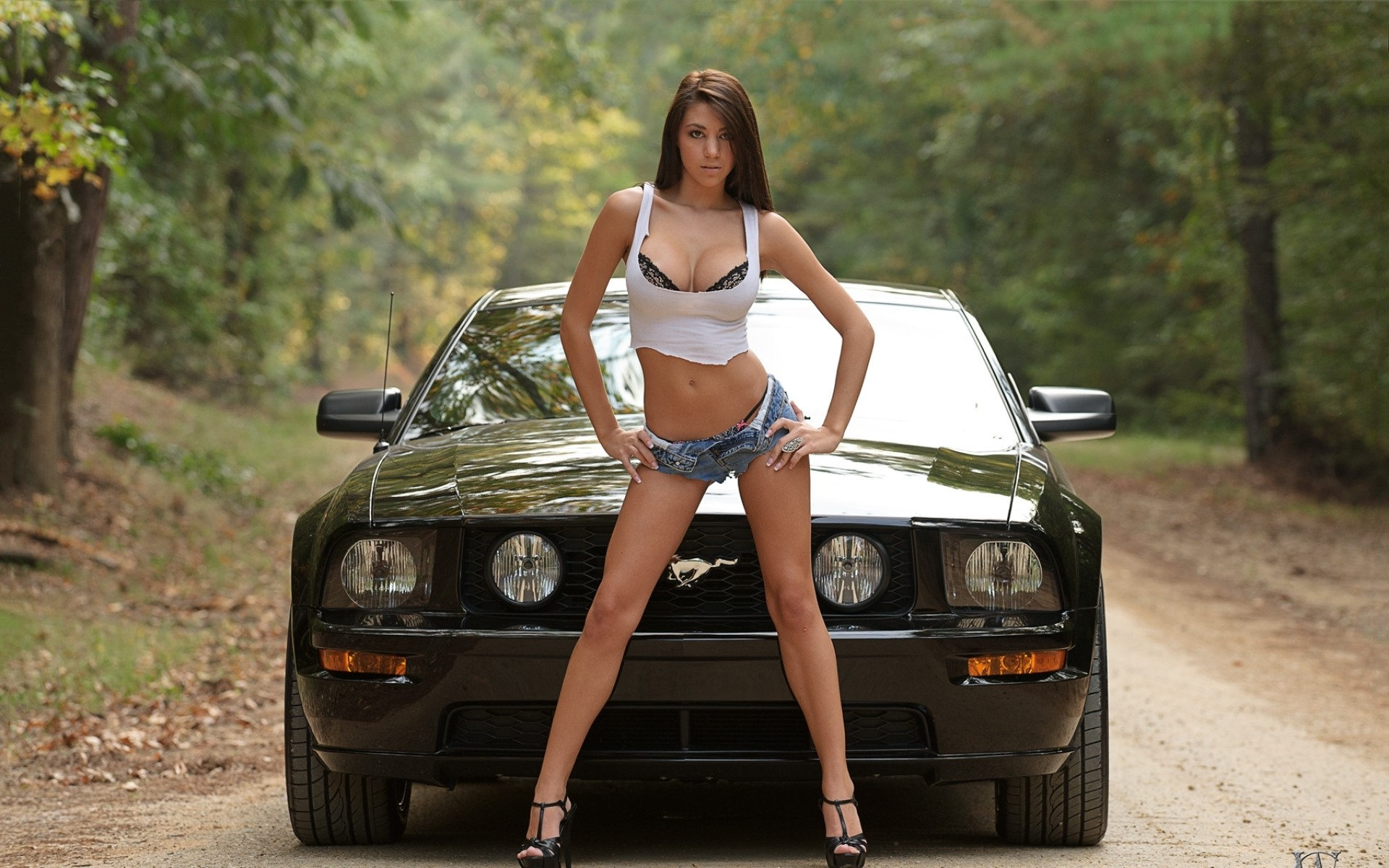 1920x1200 Women trees cars cleavage high heels ford mustang denim shorts wallpaper |   | 31928 | WallpaperUP
