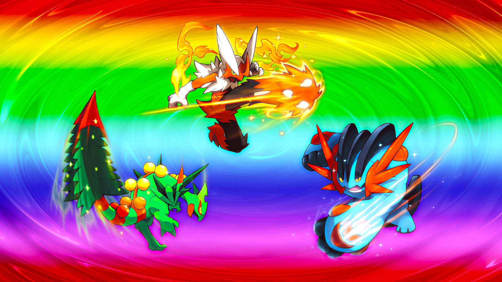 1920x1080 Mega Hoenn Starters Wallpaper · Mega Hoenn Starters Wallpaper by Glench