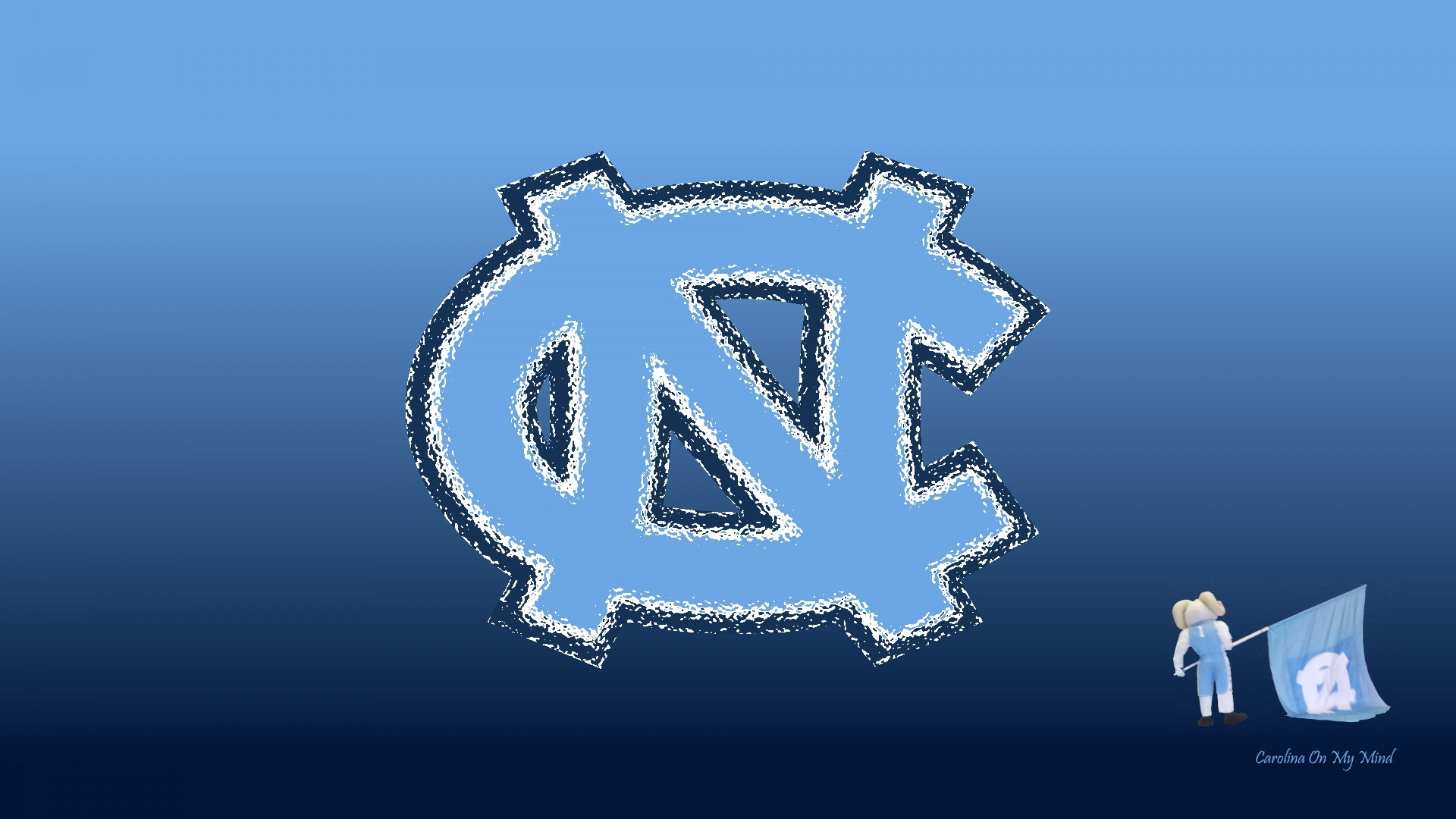1920x1080 UNC Wallpaper - Glass NC with Rameses and Flag on Blue Gradient 1920 x 1080