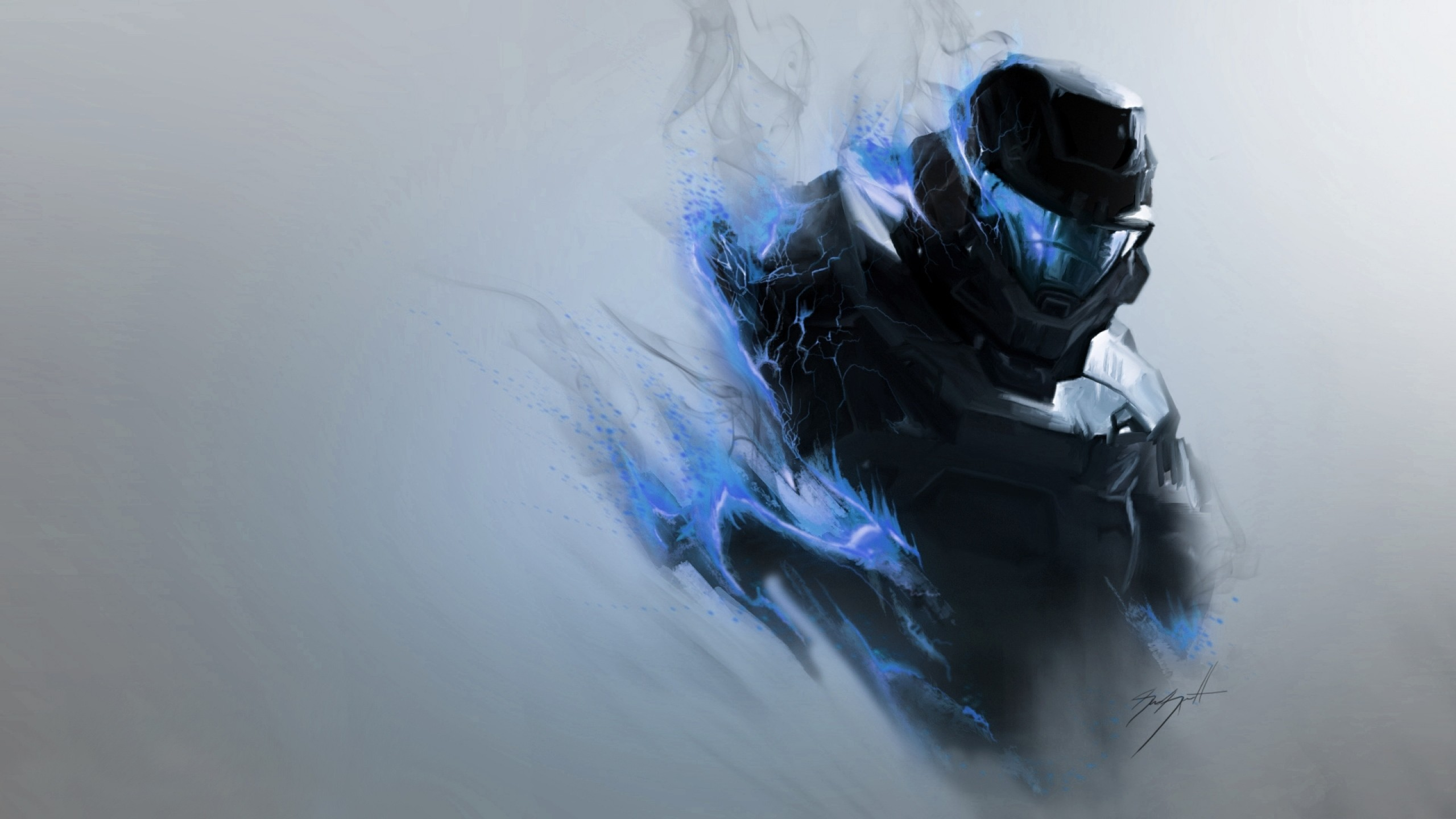 2560x1440 Preview wallpaper halo, smoke, armor, soldier, helmet