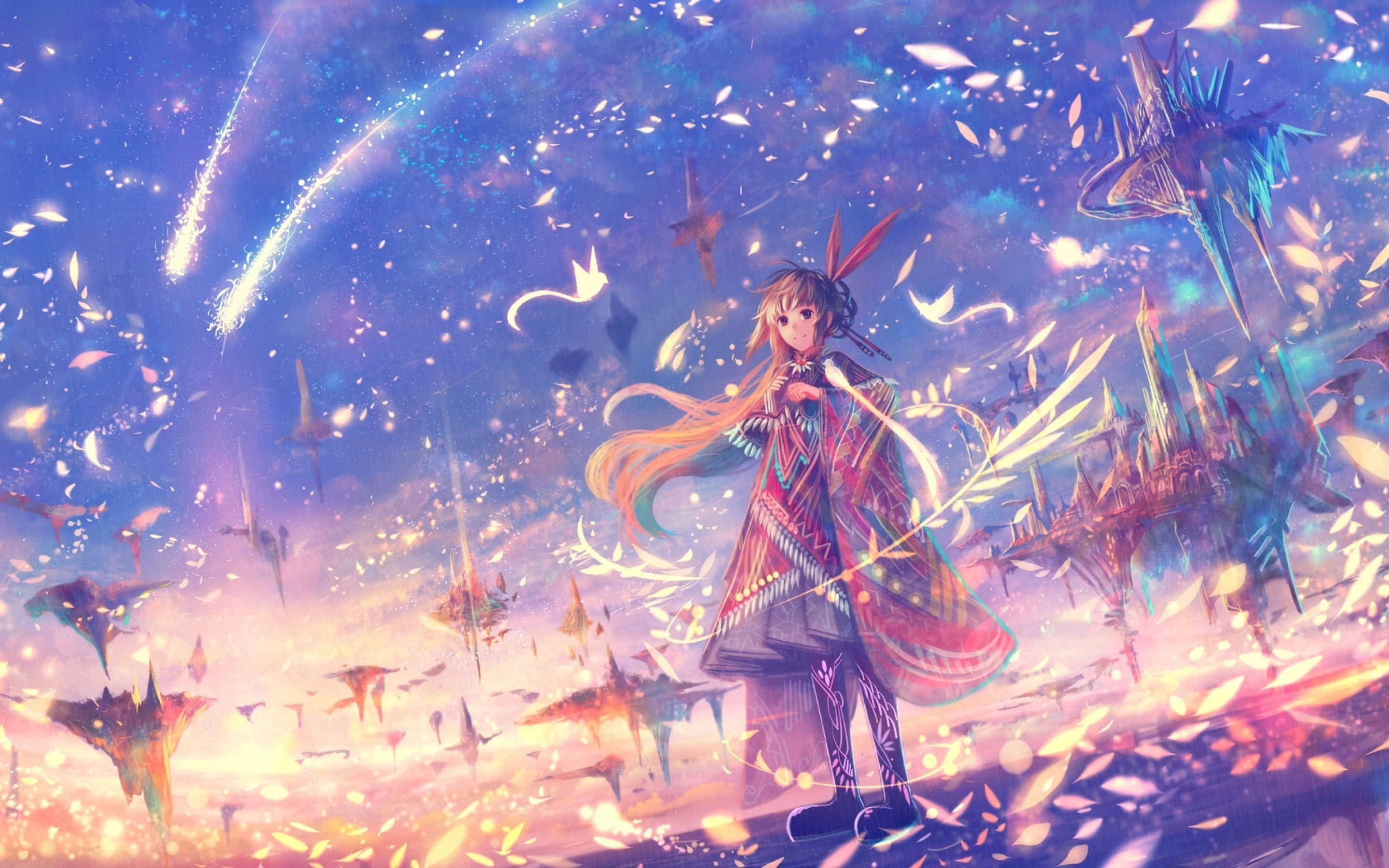 2880x1800 Wallpaper Anime Girl Fantasy World Petals Floating Island - Image #2478 -