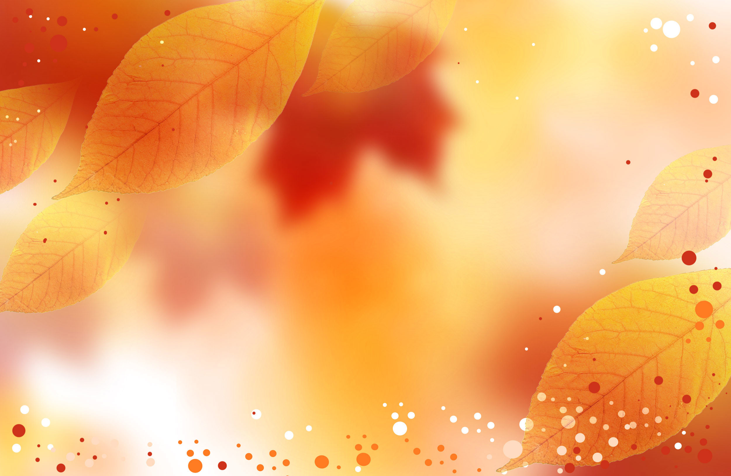 2500x1630 Fall colors on the background with Autumn leaves and white, orange and red  dots as spread and highlights.