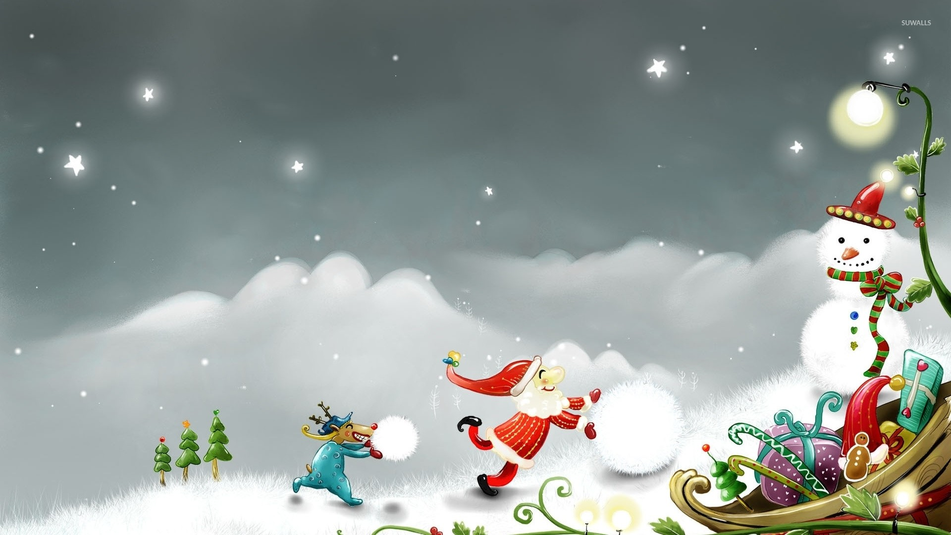 1920x1080 Christmas Snowman Wallpaper A Snow Moon