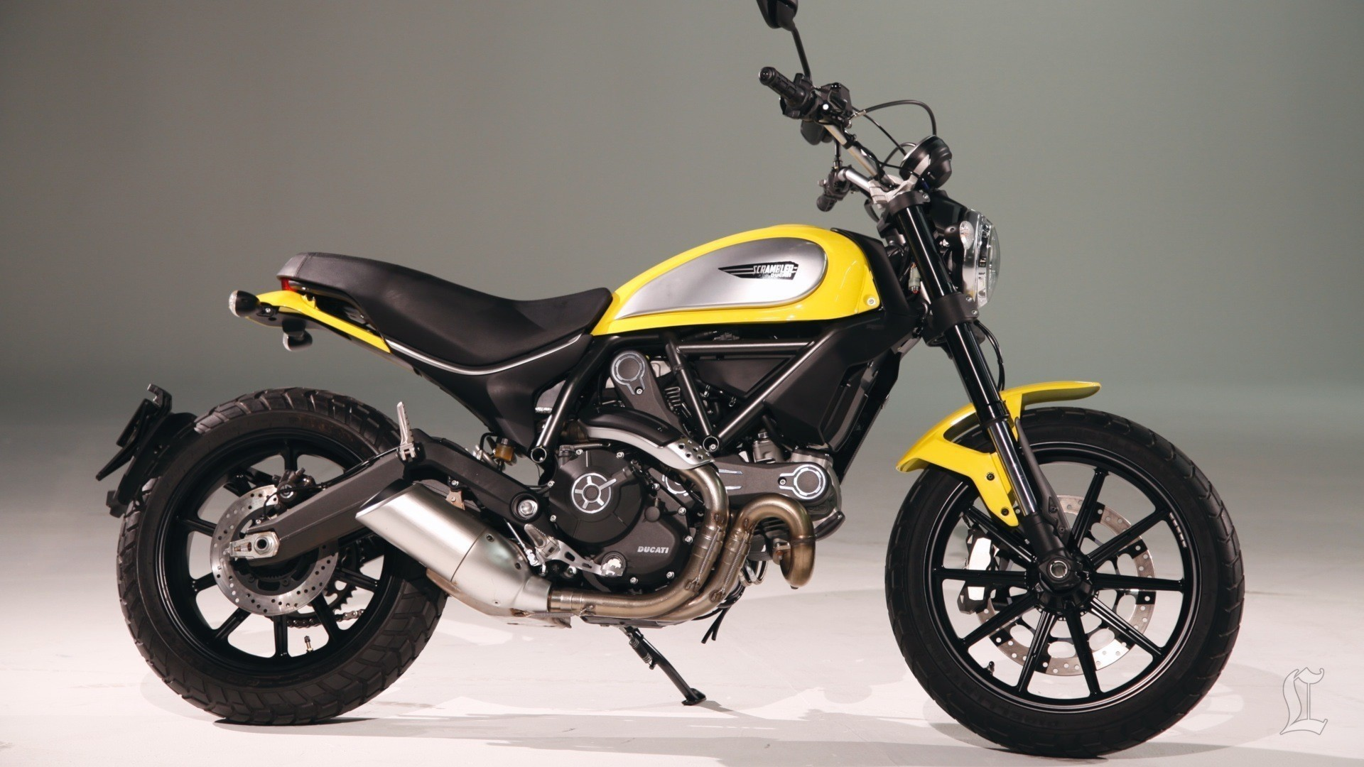 1920x1080 Black and yellow bike Ducati Scrambler