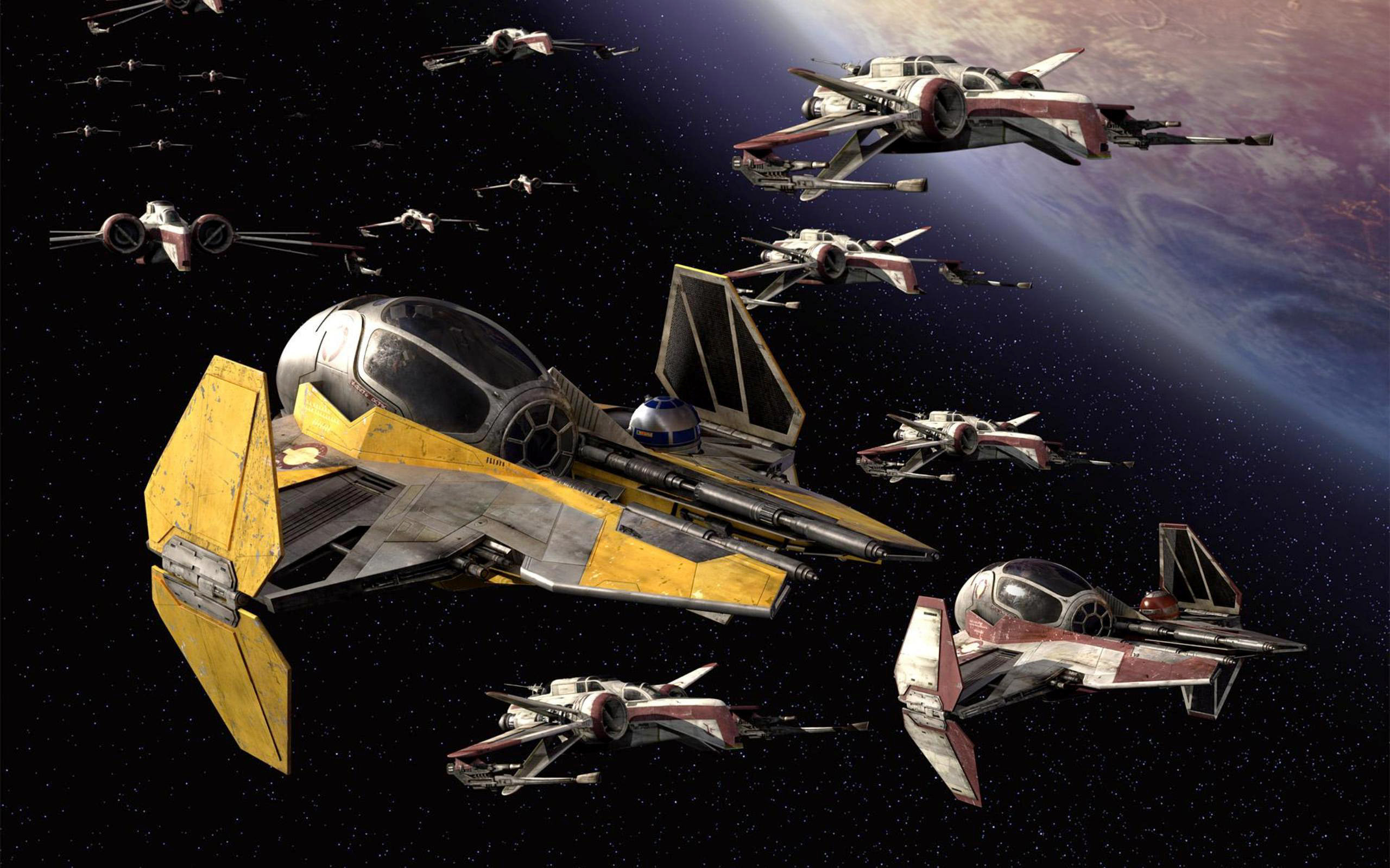 2560x1600 Movie Star Wars CGI Ship X-wing Planet Stars Space Video Game Wallpaper