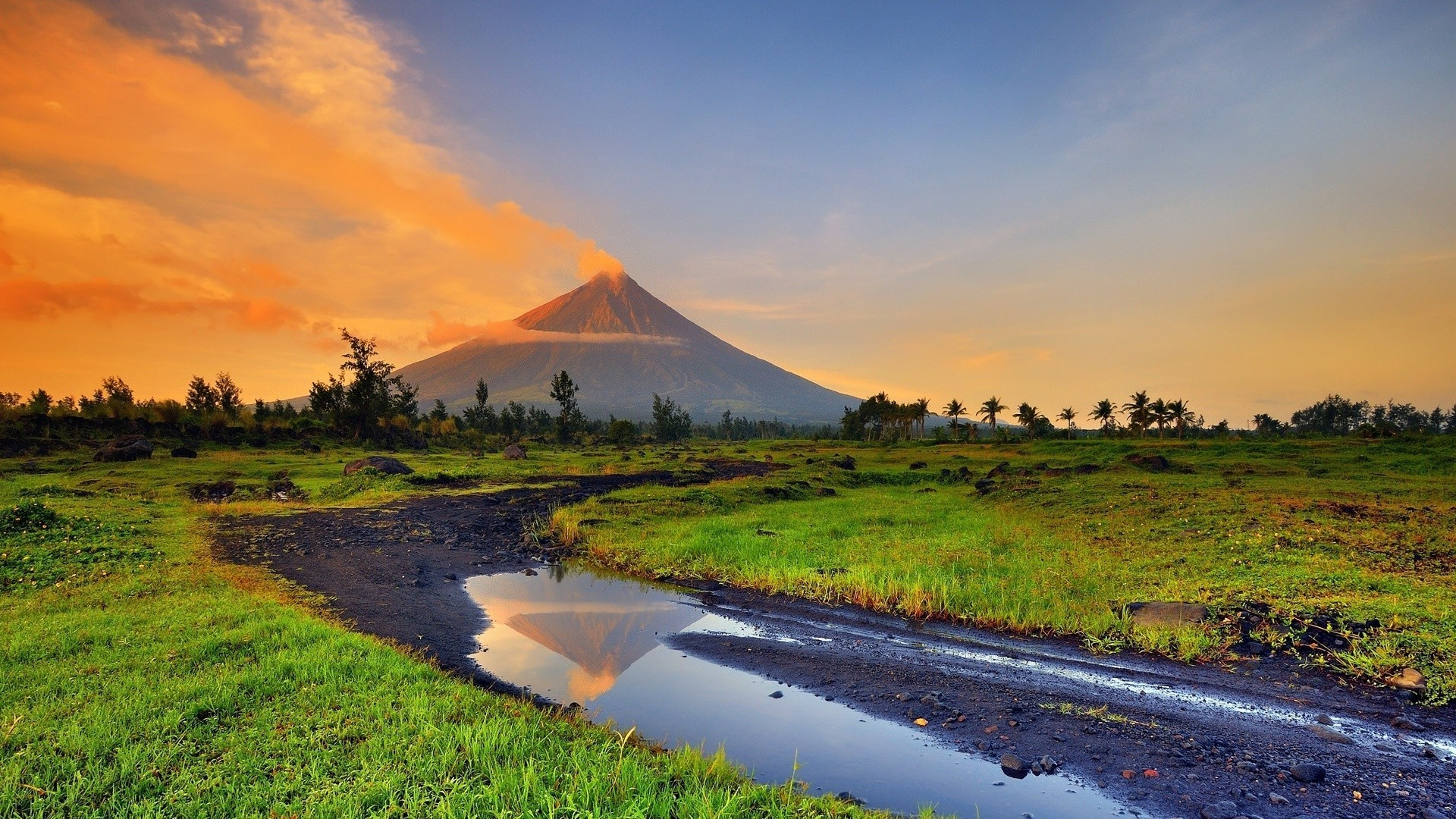 1920x1080 landscape, Volcano, Stream, Smoke, Philippines Wallpapers HD / Desktop and  Mobile Backgrounds