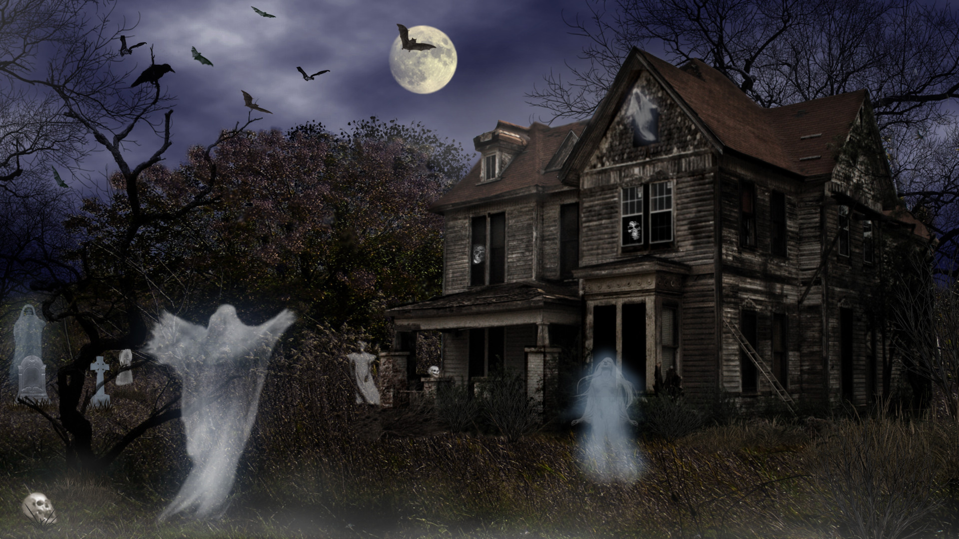 1920x1080 Vacances Halloween Vacances Haunted House Maison Night Effrayant Fond  d'écran | Wallpaper HD | Pinterest | Halloween haunted houses and Wallpaper