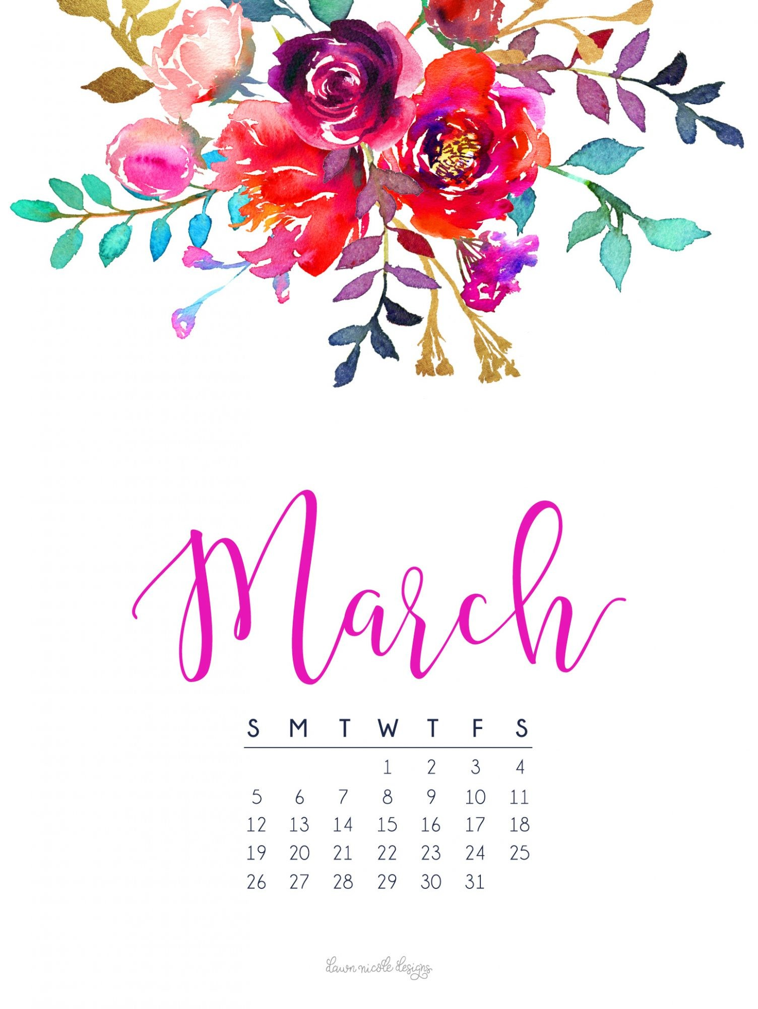 1504x2000 March 2017 Calendar + Tech Pretties
