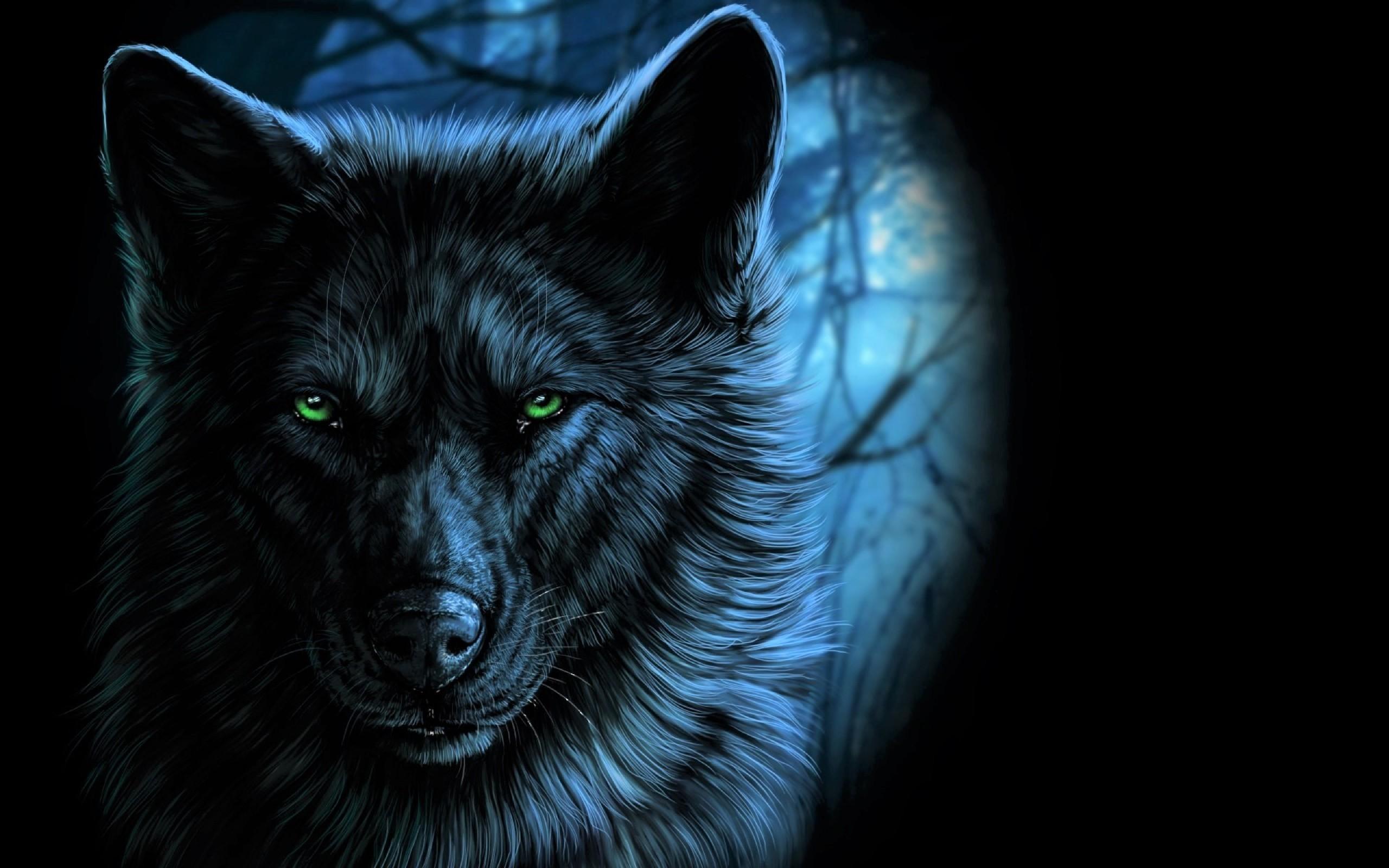Neon Blue Wolf Wallpaper