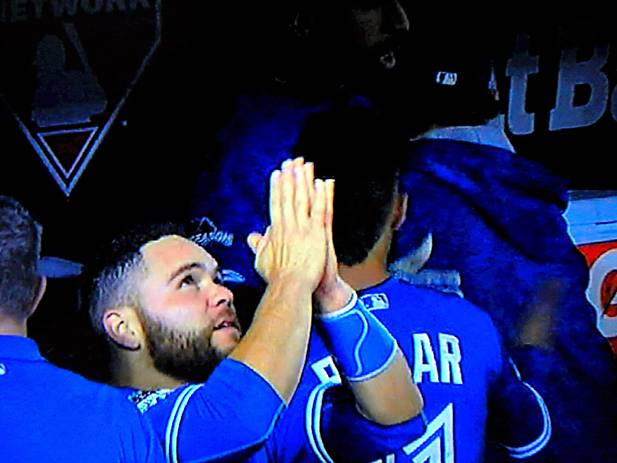 "2048x1536 NO IMAGE CAPTURED BY FOX SPORTS SPOKE VOLUMES LIKE THIS ONE — RUSSELL  MARTIN THANKING HIS ""MAKER"" SECONDS AFTER JOSE BAUTISTA'S GAME–DECIDING  HOME RUN IN ..."