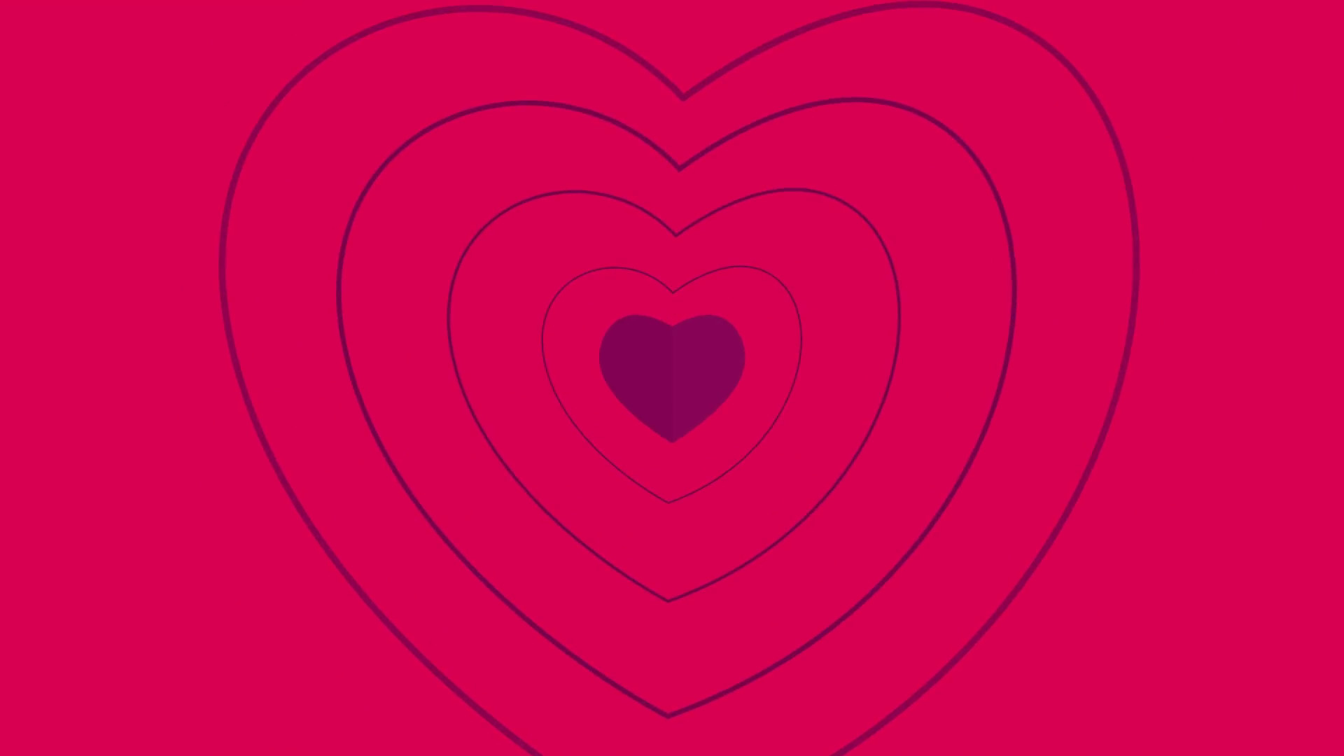 1920x1080 Seamless Looping Red and Pink Heart Animated Background. Cartoon animation  of Red hearts with sunburst