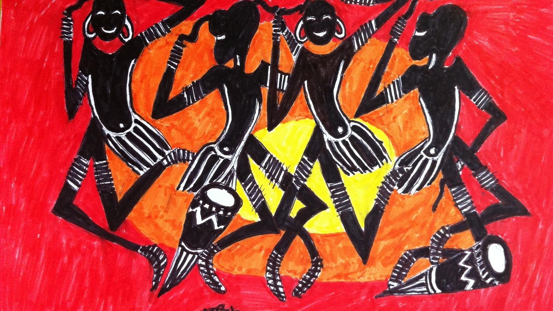 1920x1080 Africa, Arts, Paintings, African Art, Dance, Dancers, African Art Paintings